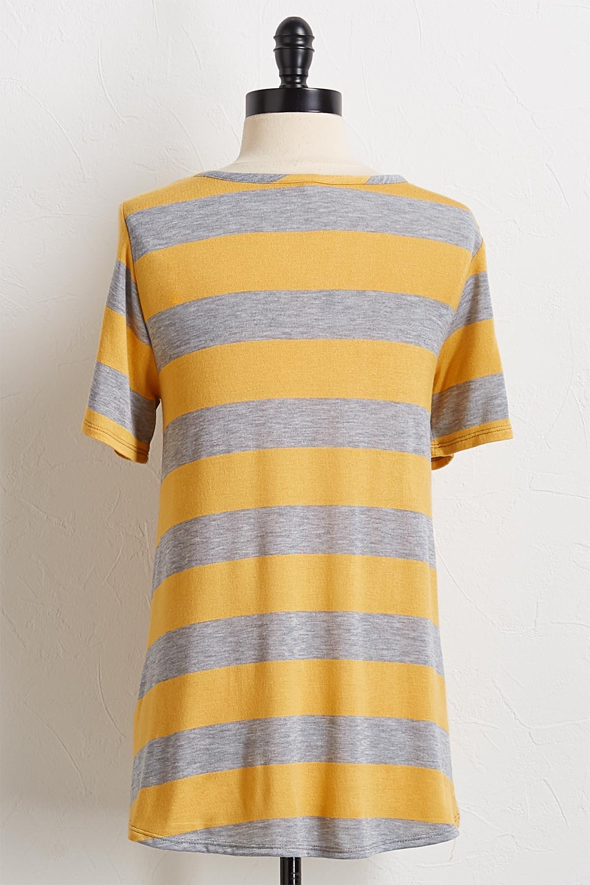 Golden Gray Stripe Swing Top