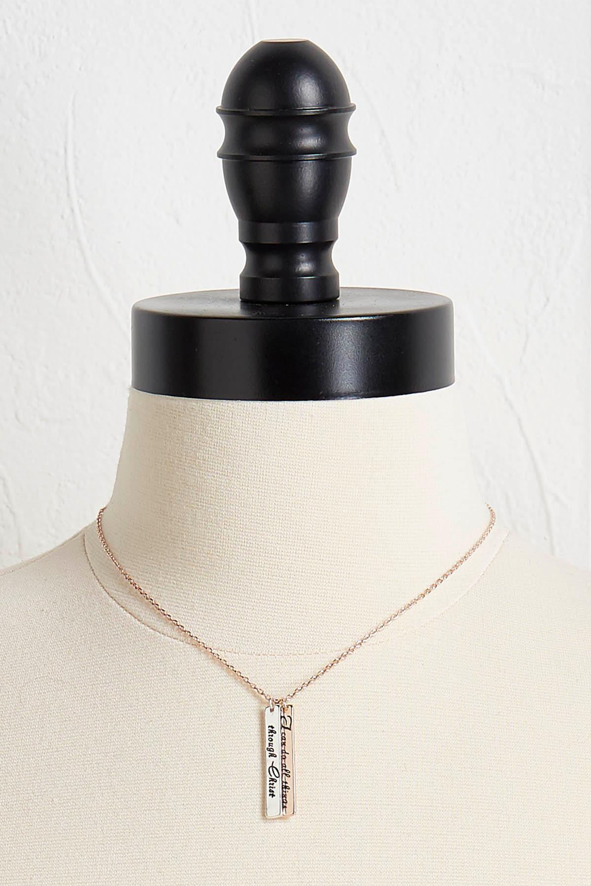 Inspirational Two- Toned Pendant Necklace
