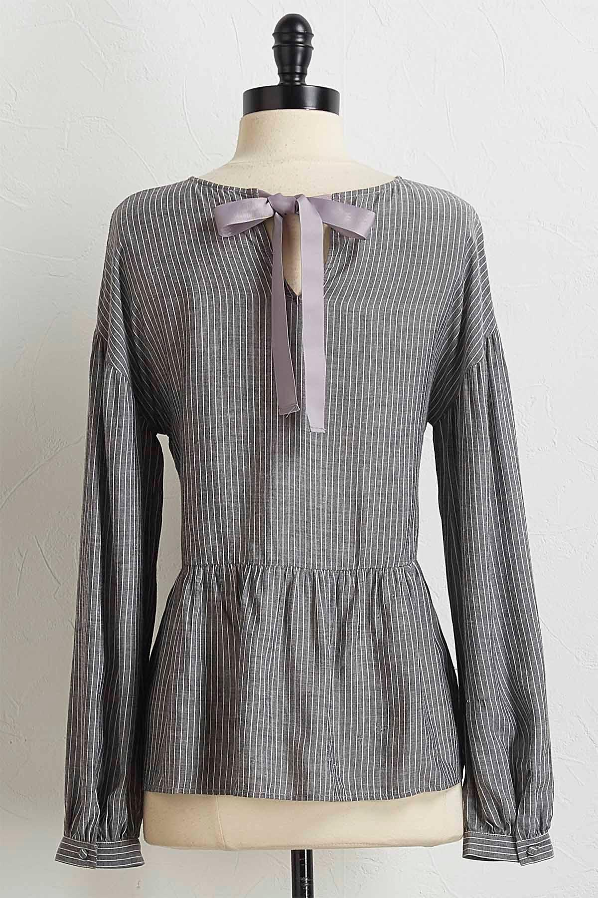 Gray Striped Peplum Top