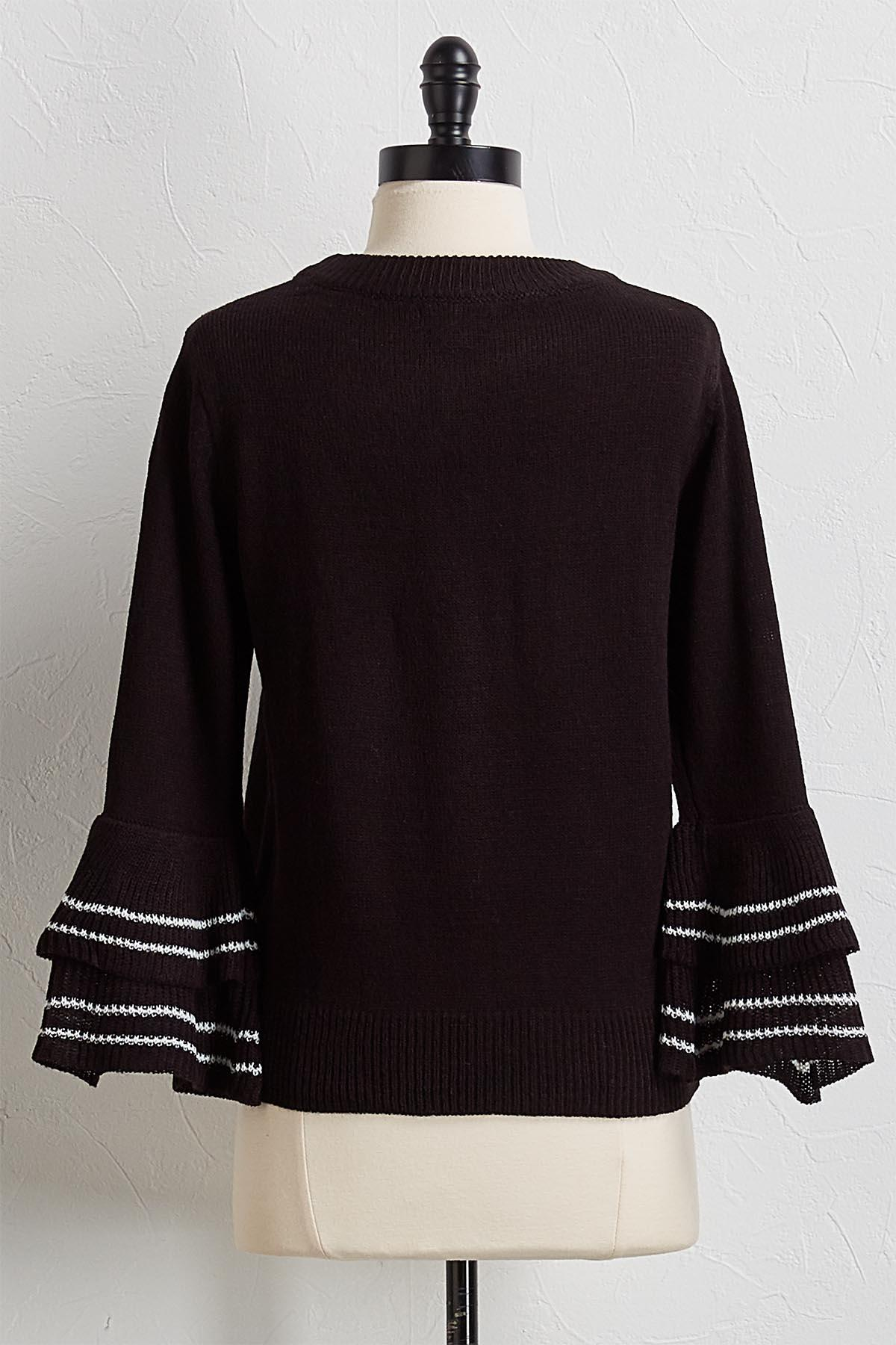 Two- Toned Flutter Sleeve Sweater