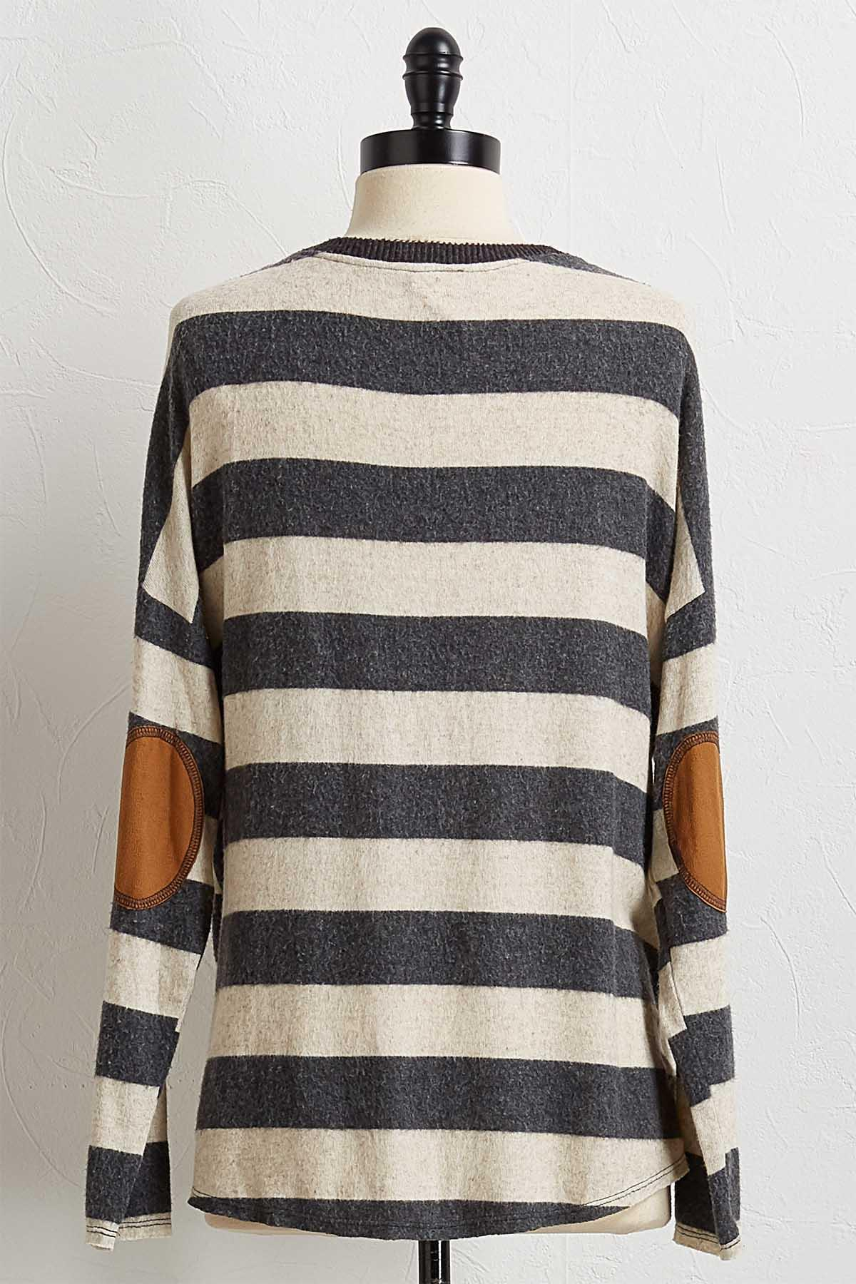 Striped Suede Patch Top