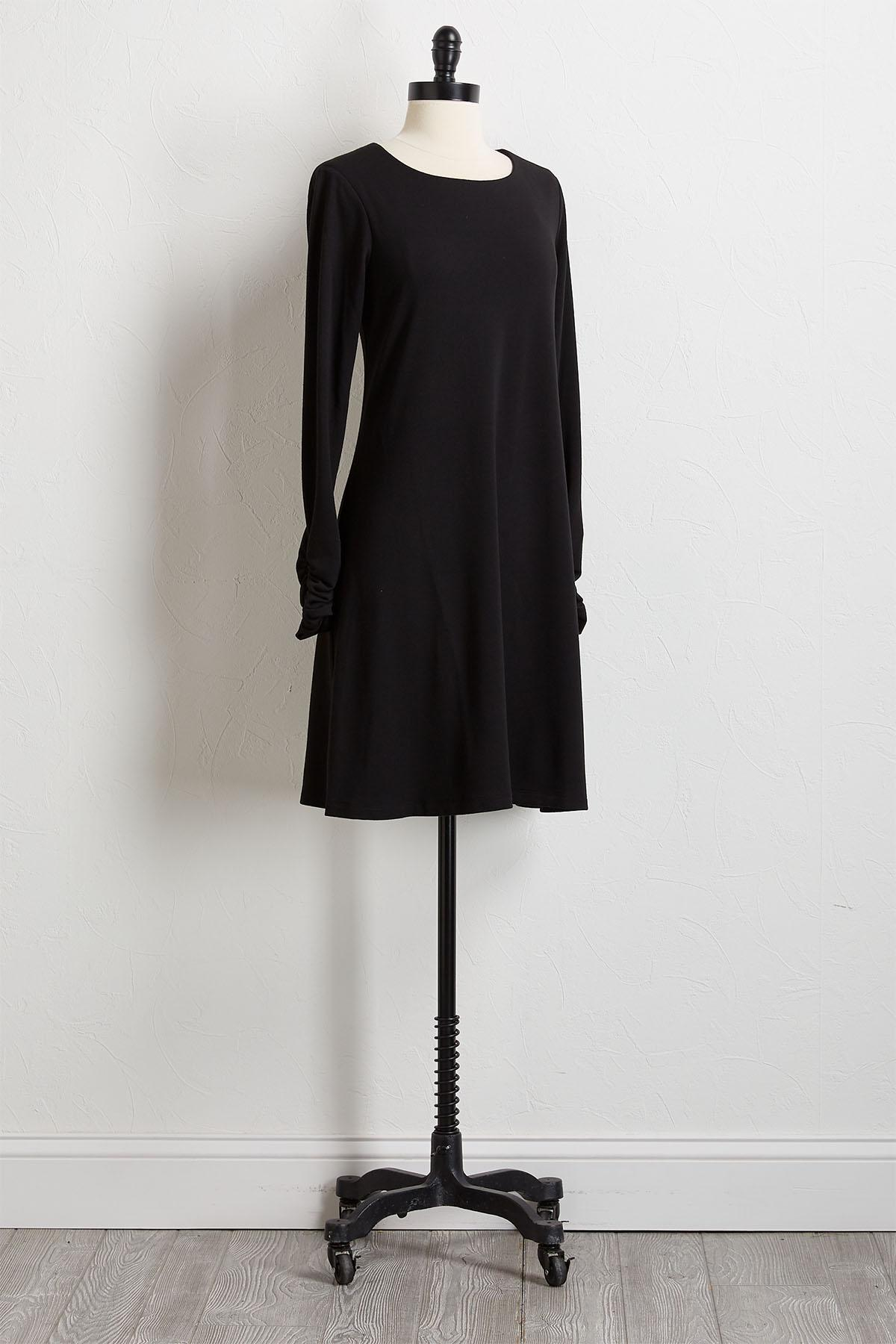 Buttoned Scarf Shift Dress