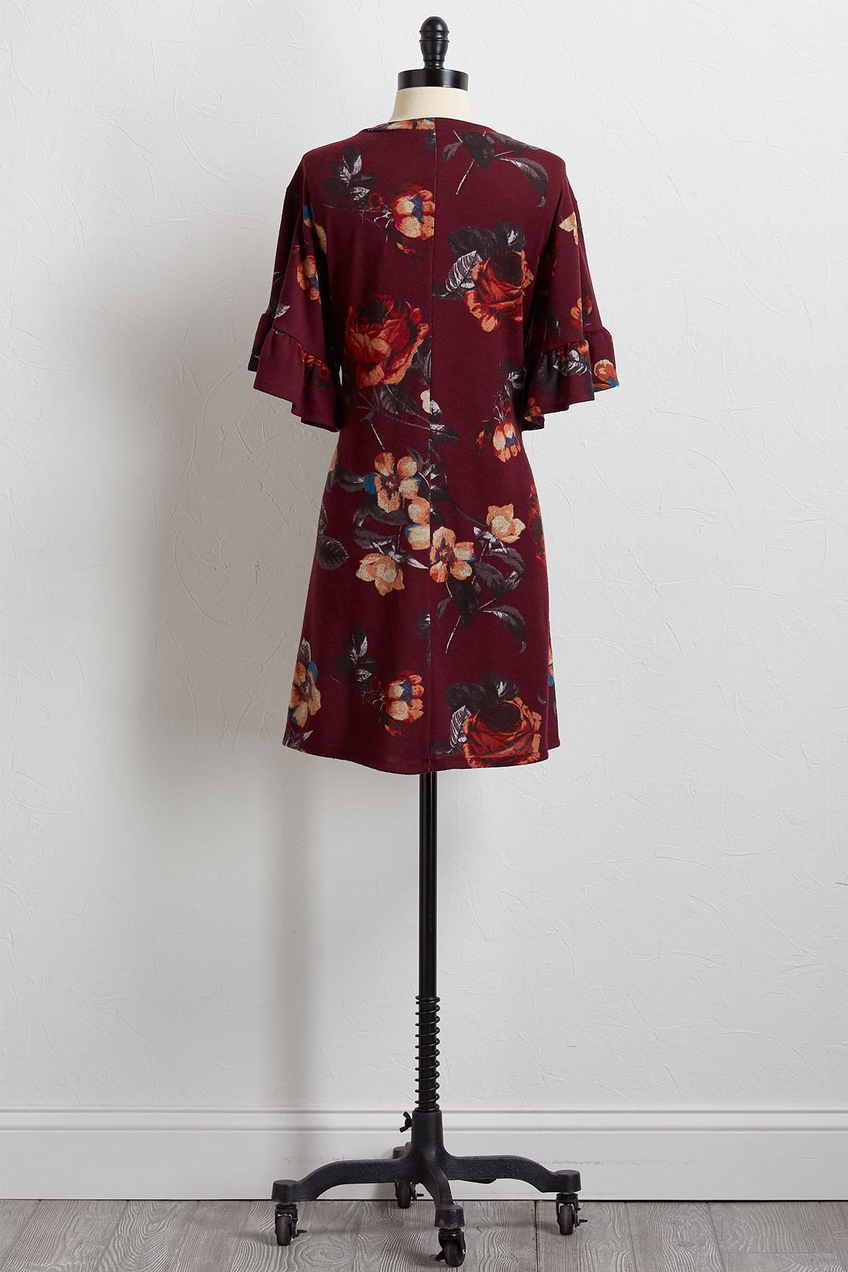 Wine Floral Shift Dress