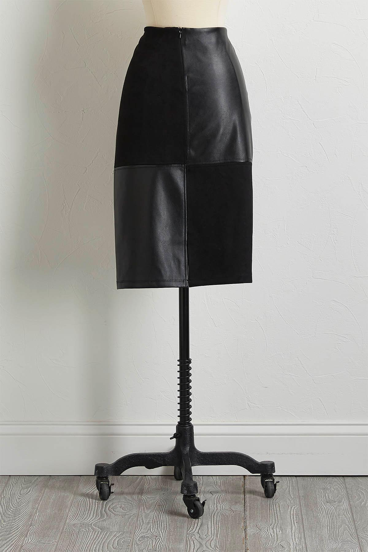 Faux Leather Panel Pencil Skirt
