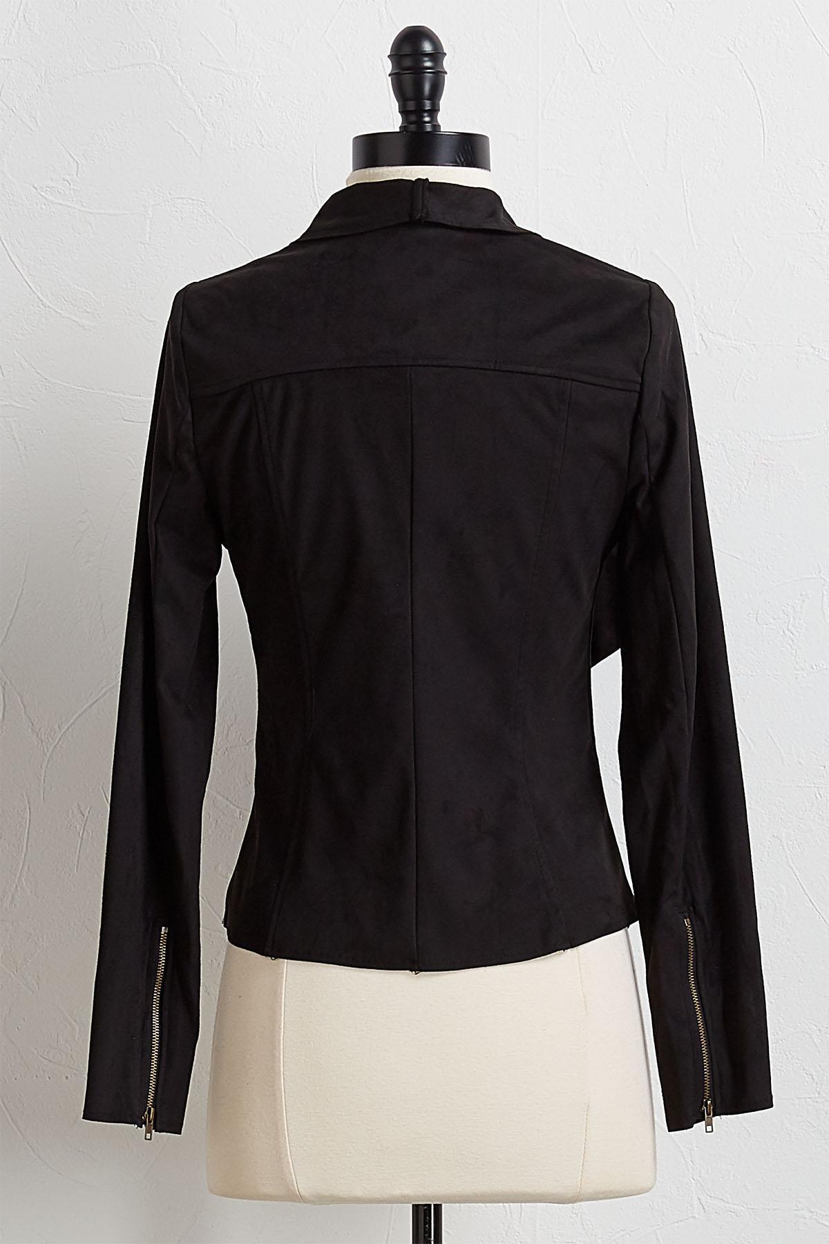Draped Faux Suede Jacket