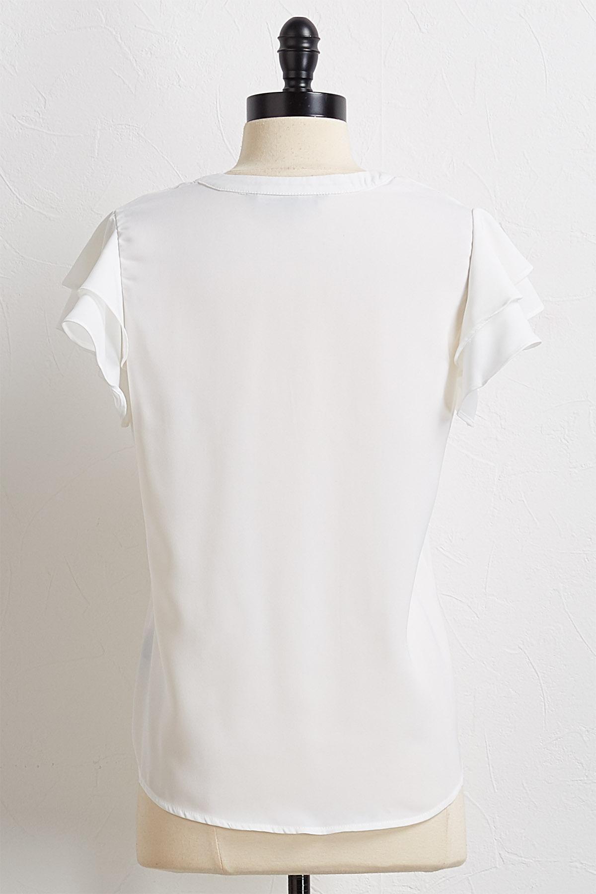 Ruffled Sleeve Henley Top