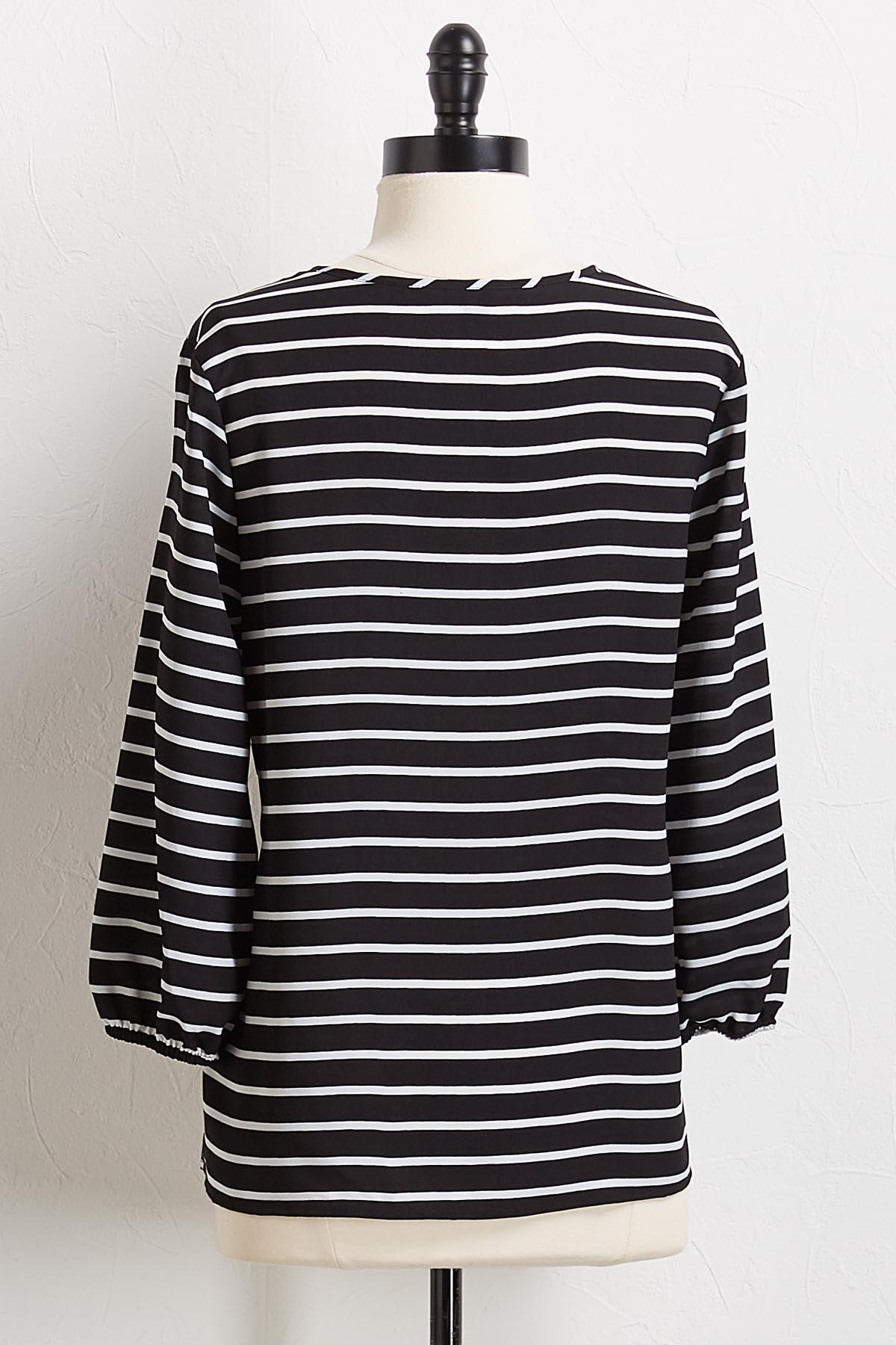 Stripe V- Neck Top