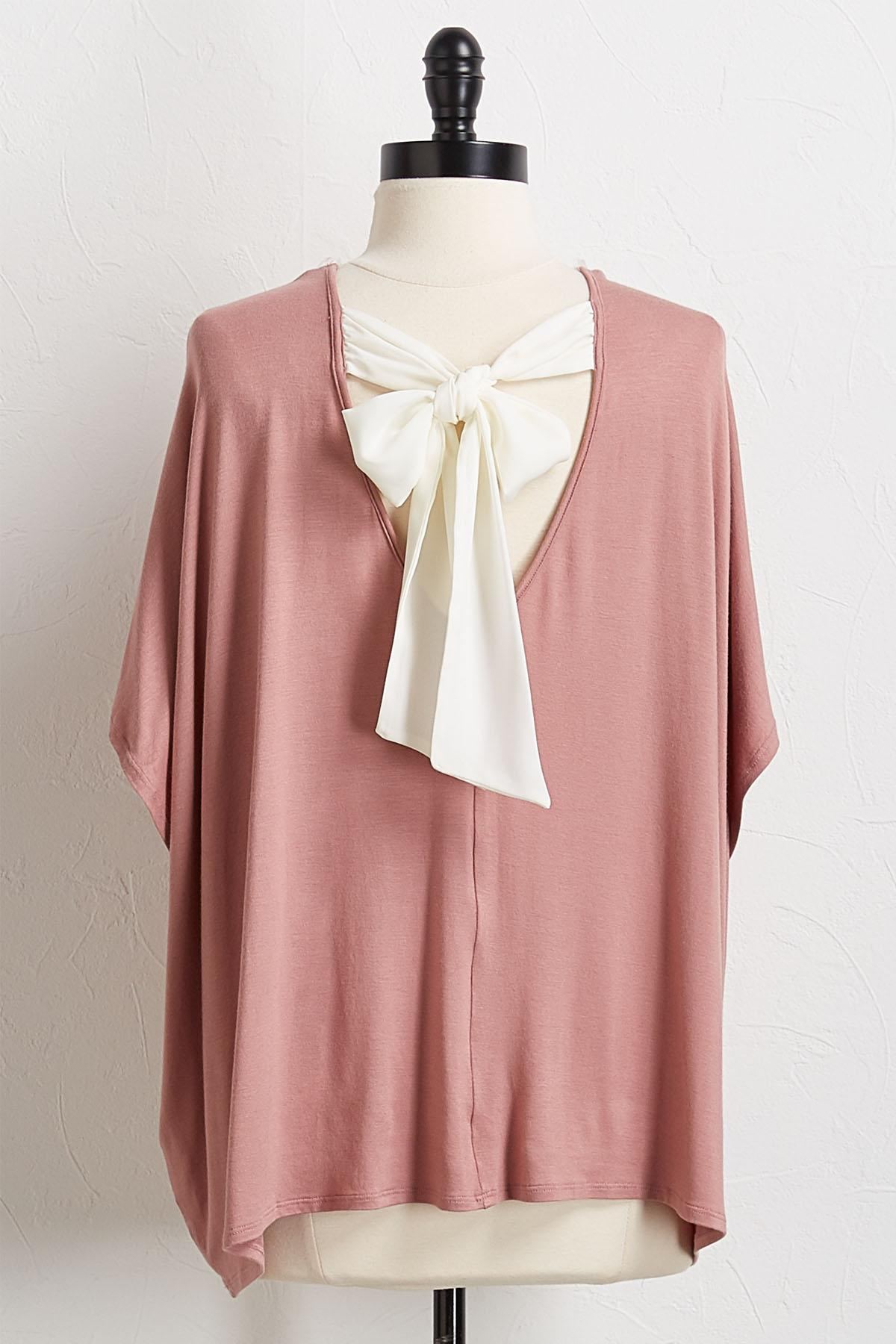 Tie Back Solid Knit Top