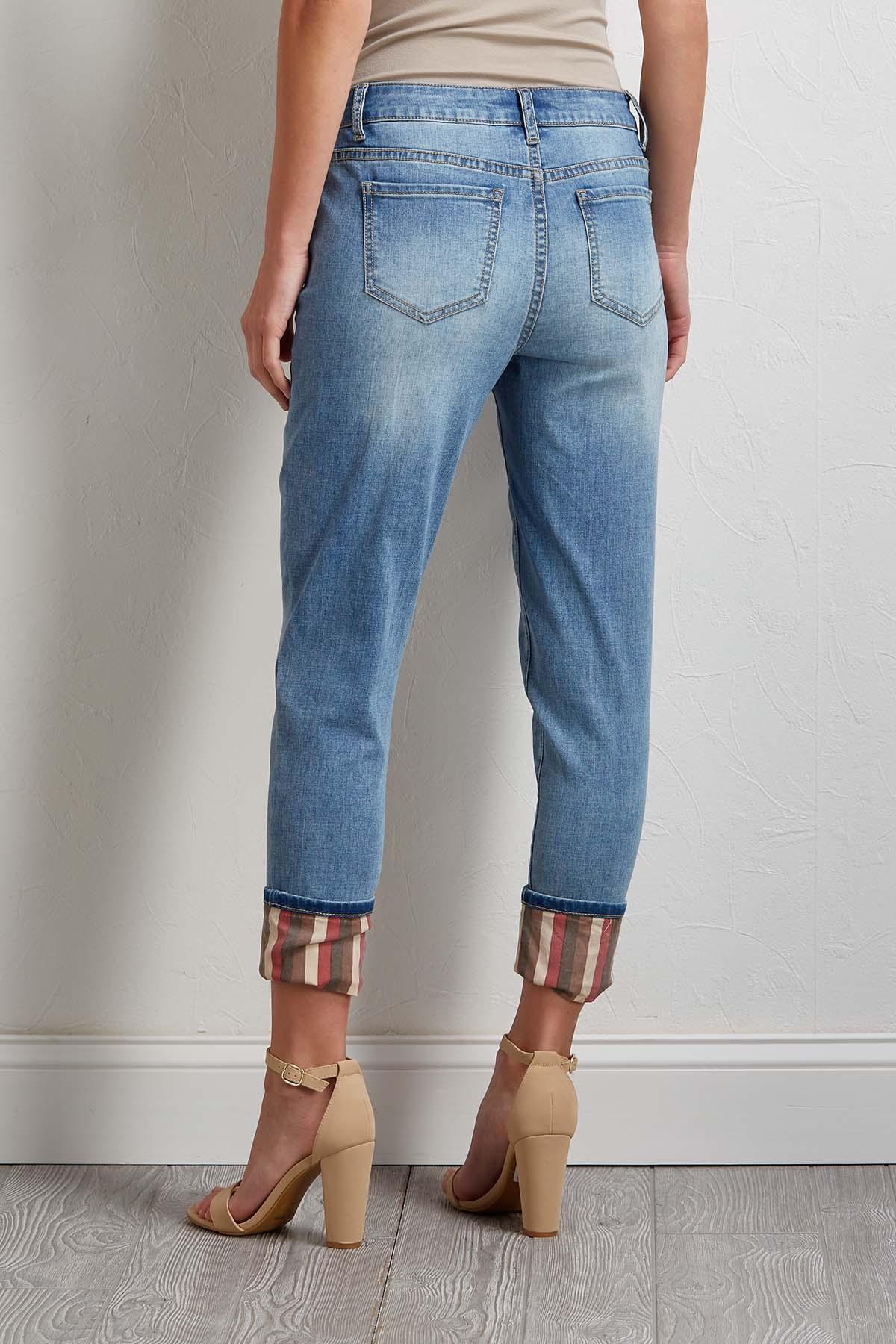 Distressed Stripe Cuffed Jeans