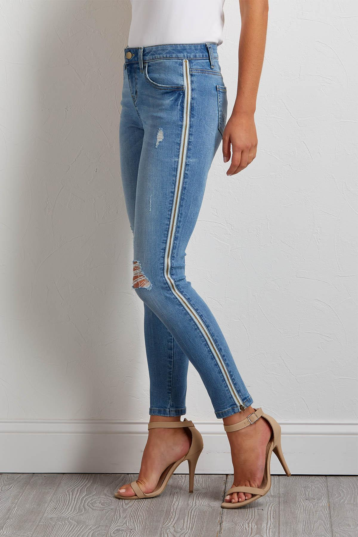 Zipper Side Distressed Jeans