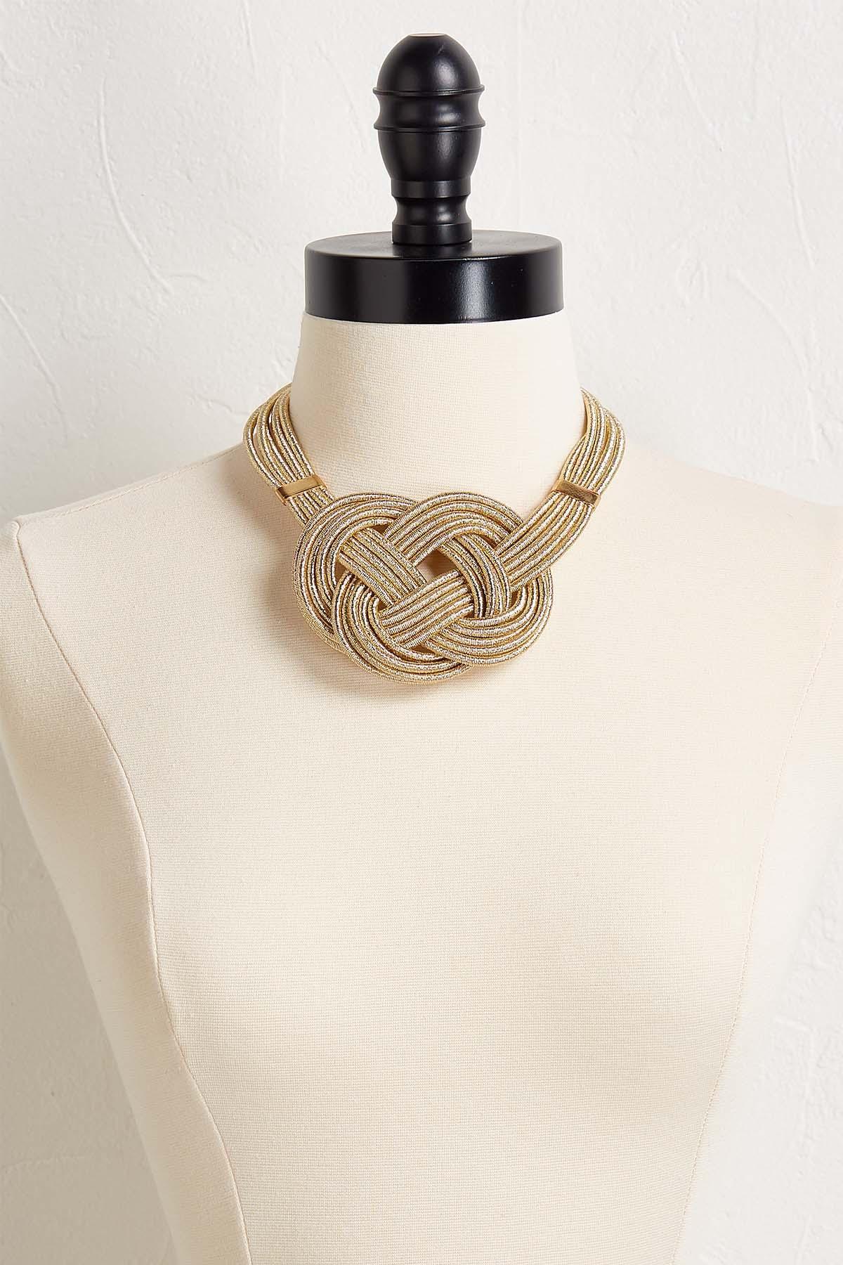 Metallic Knot Bib Necklace