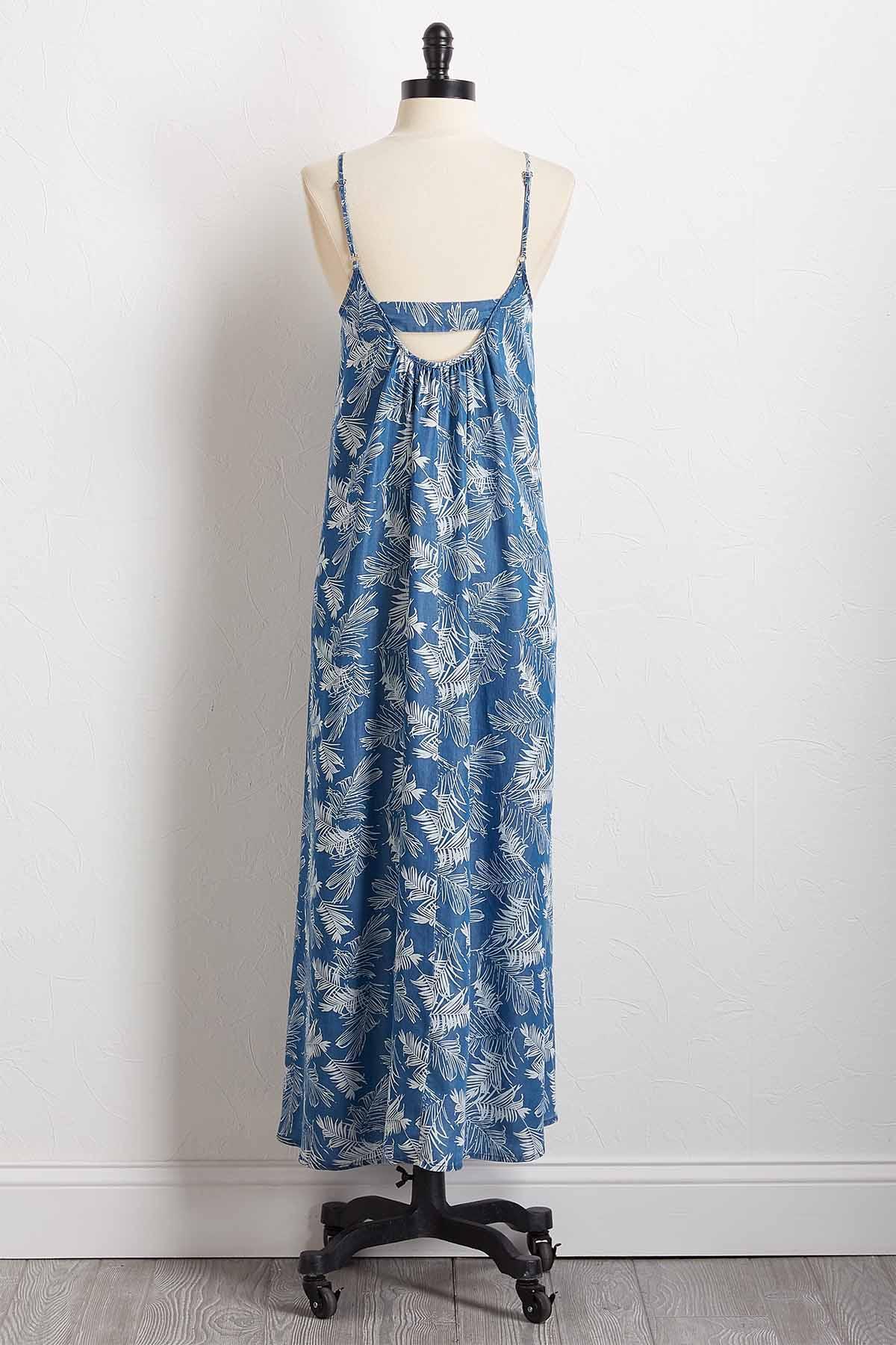 Chambray Palm Maxi Dress