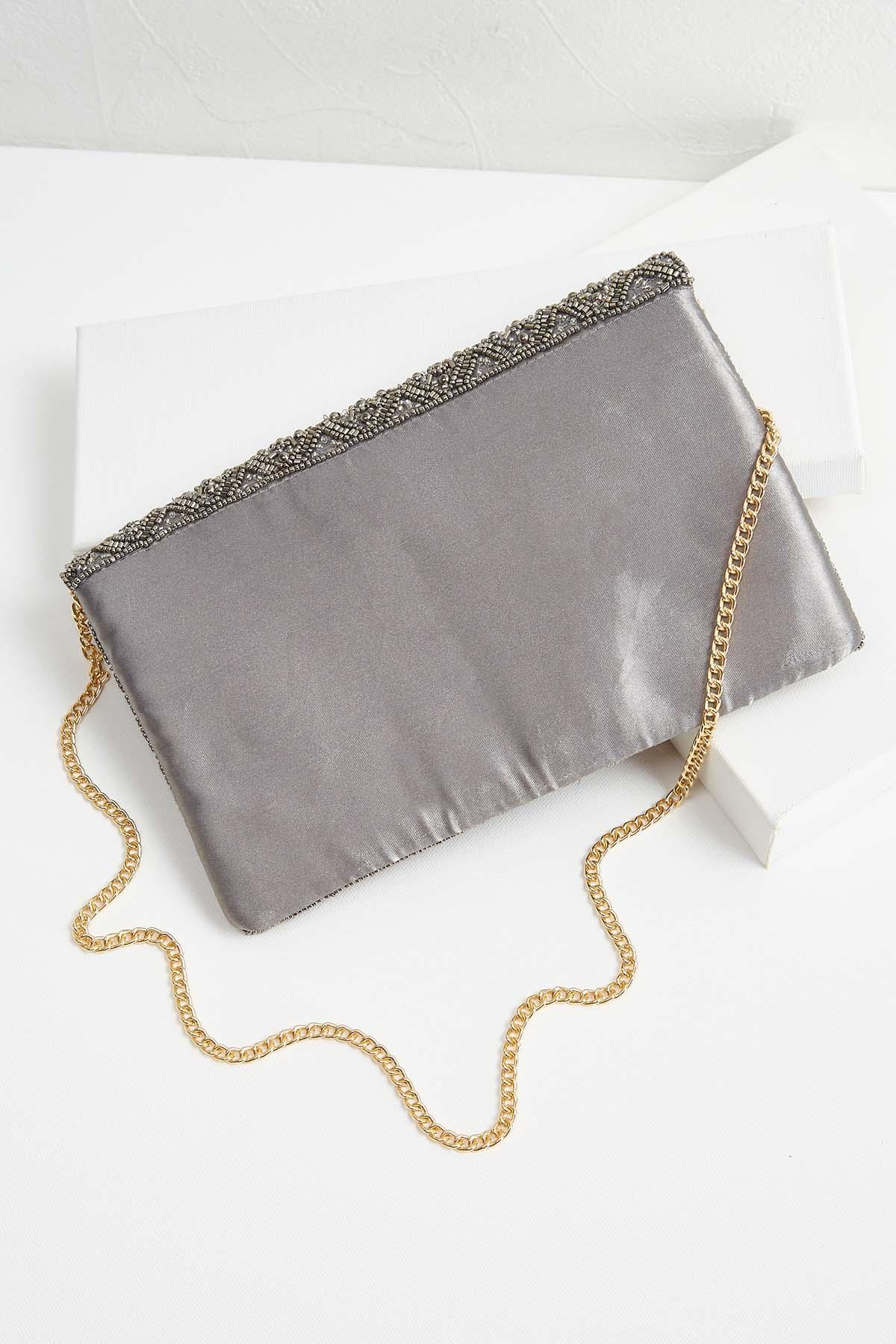 Pewter Beaded Clutch