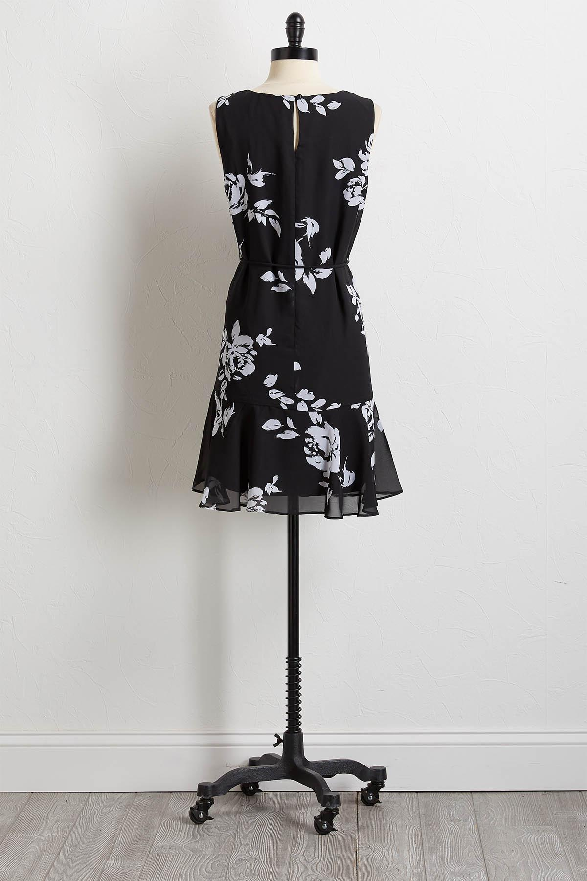 Contrast Floral Shift Dress