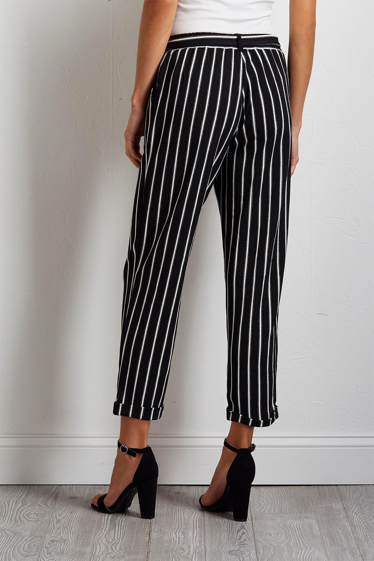 Gauze Stripe Ankle Pants