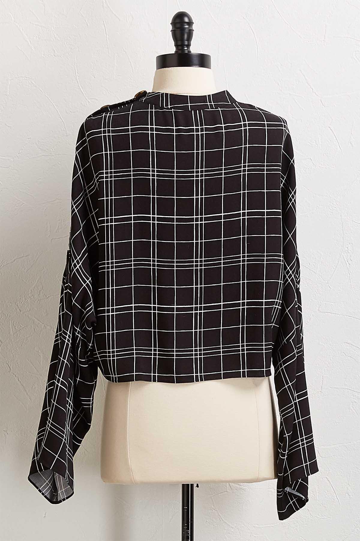 Checkered Button Shoulder Top