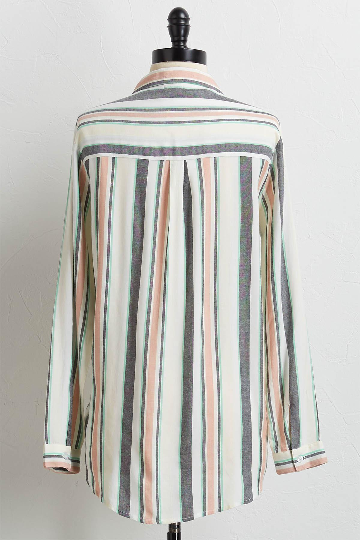 Muted Stripe High- Low Top