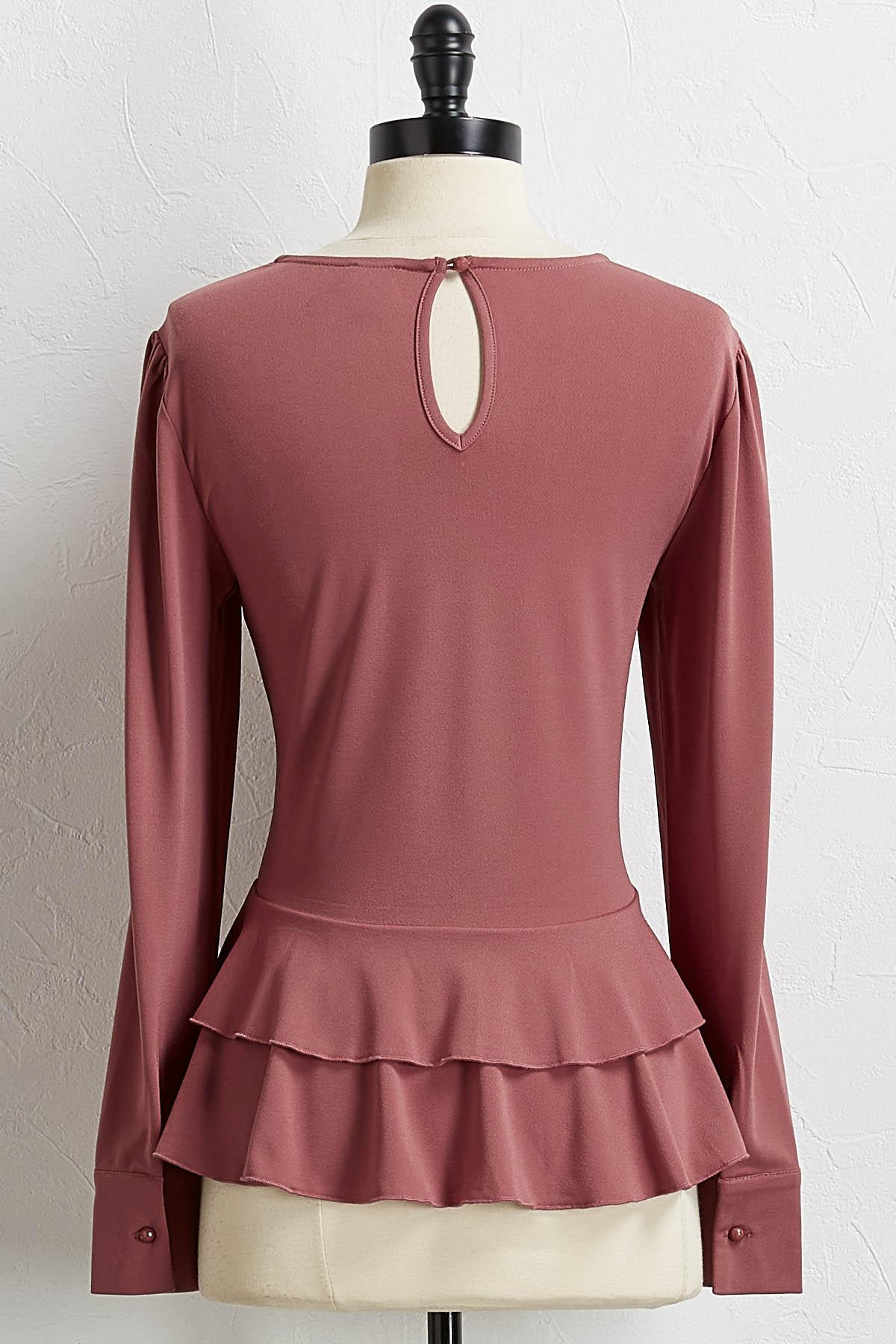 Peplum Crepe Knit Top