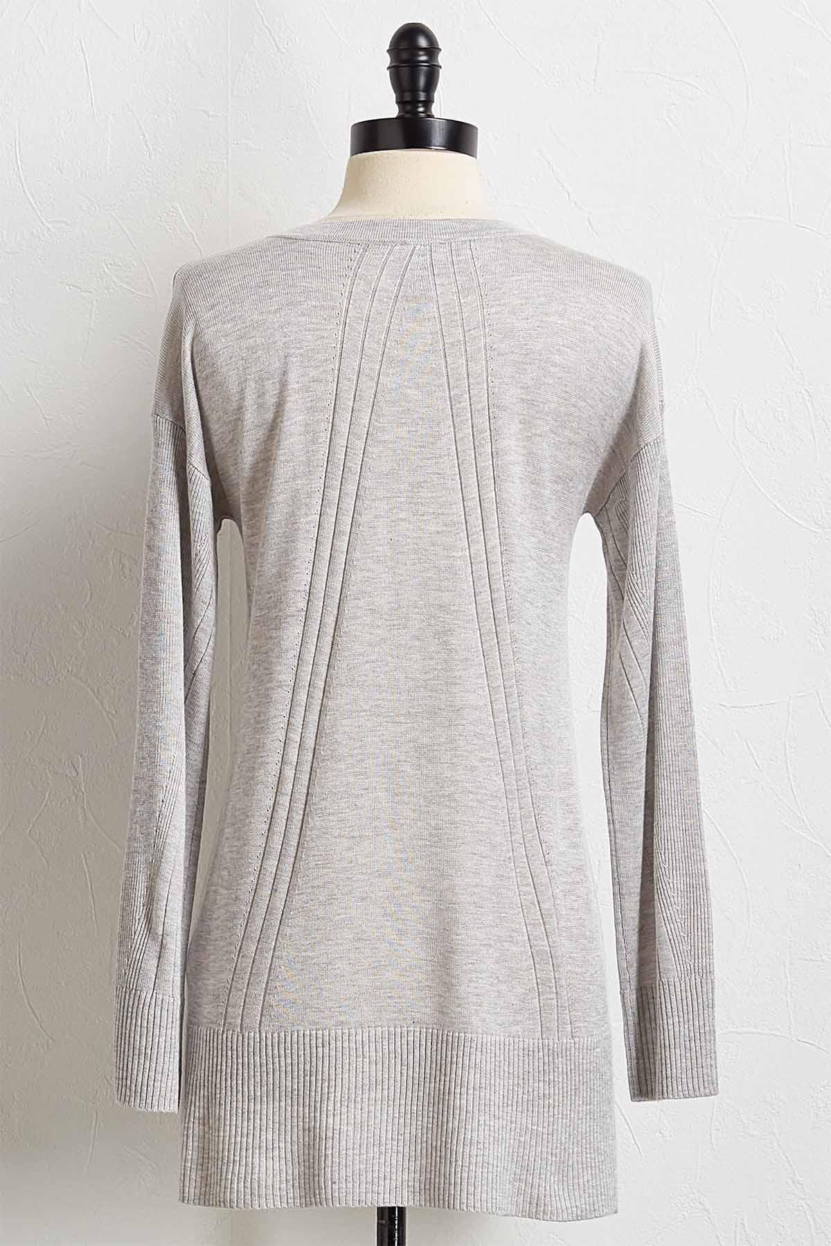 Ribbed Trim Sweater Tunic