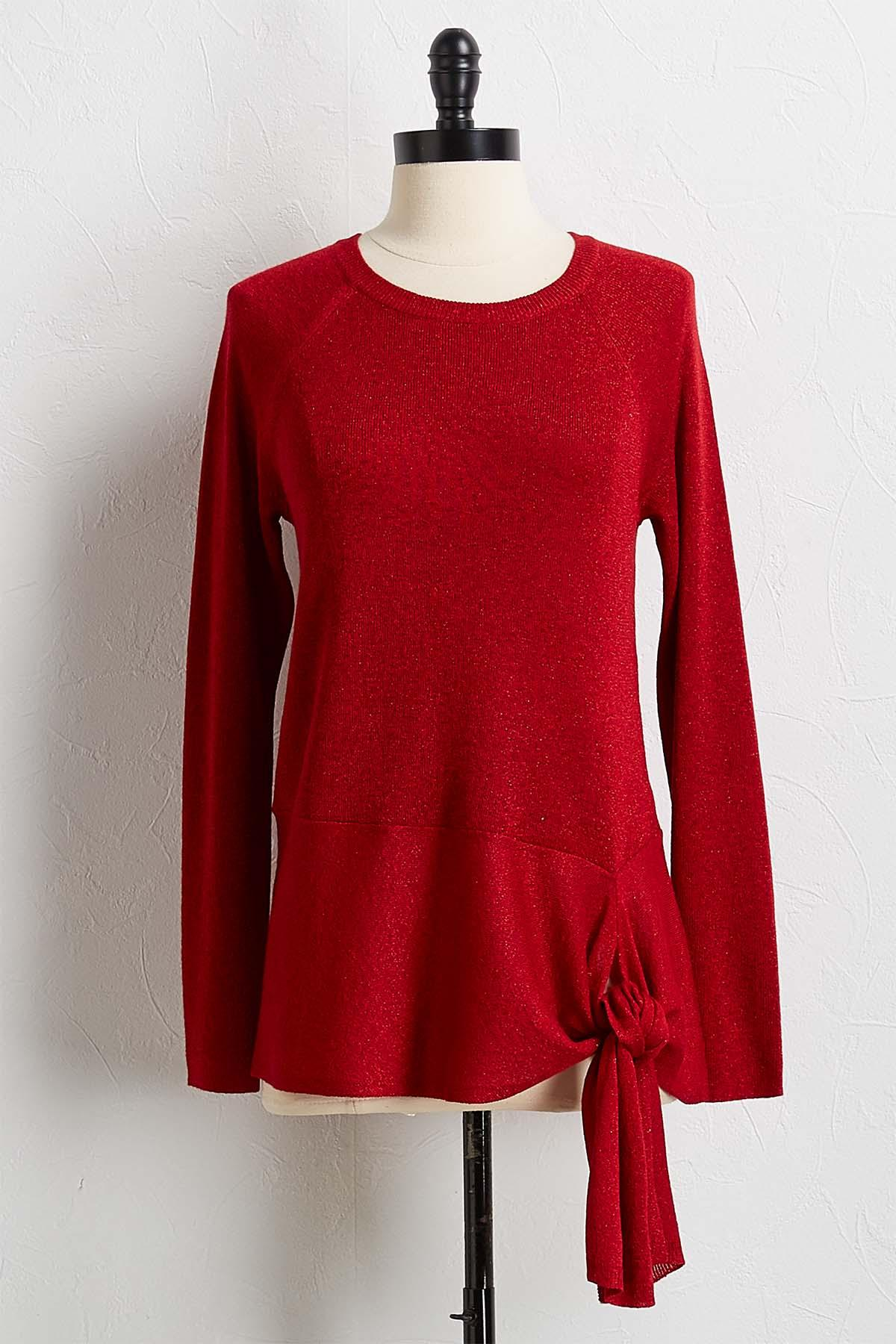 Red Shimmer Side Tie Sweater