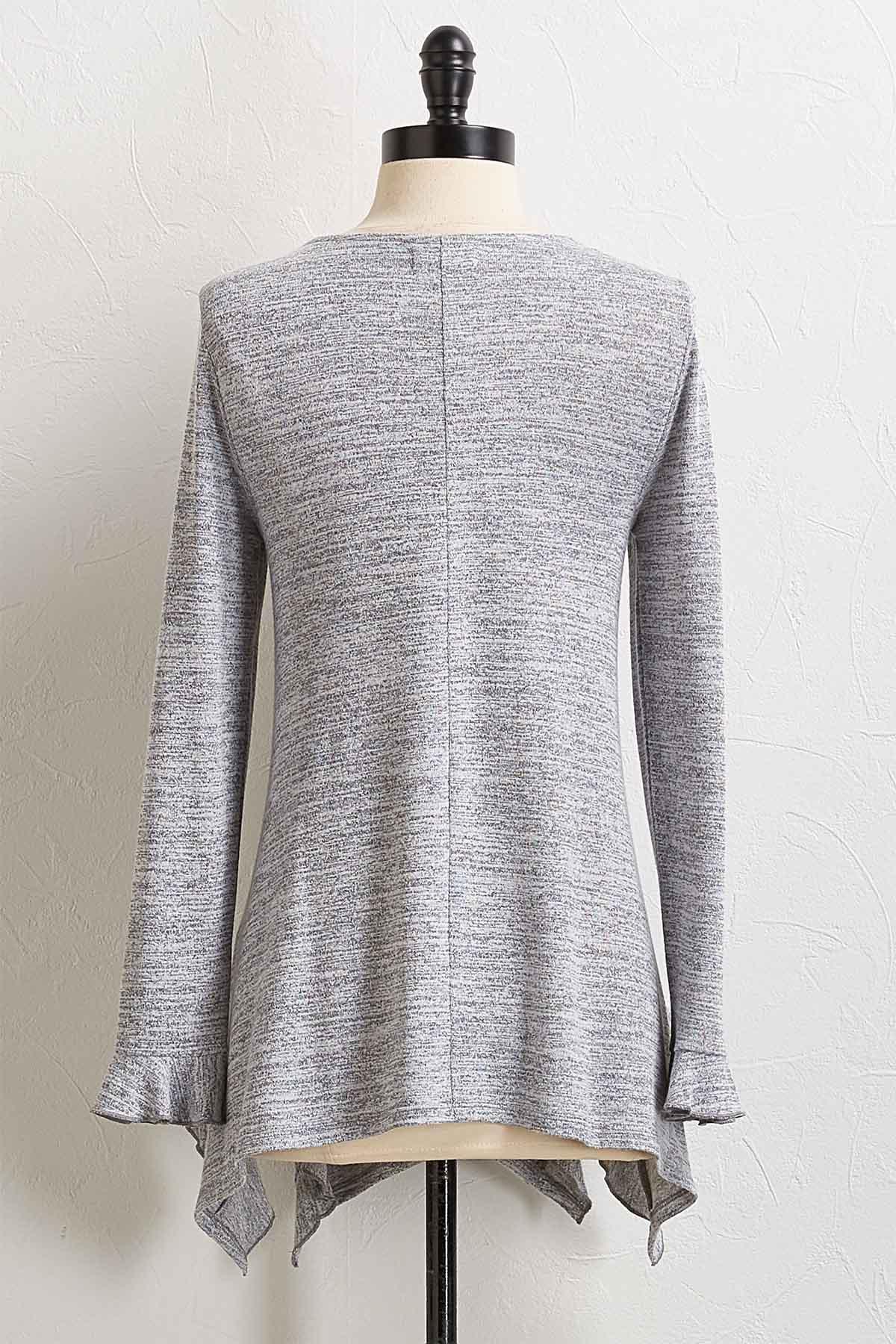 Ruffled Gray Sweater