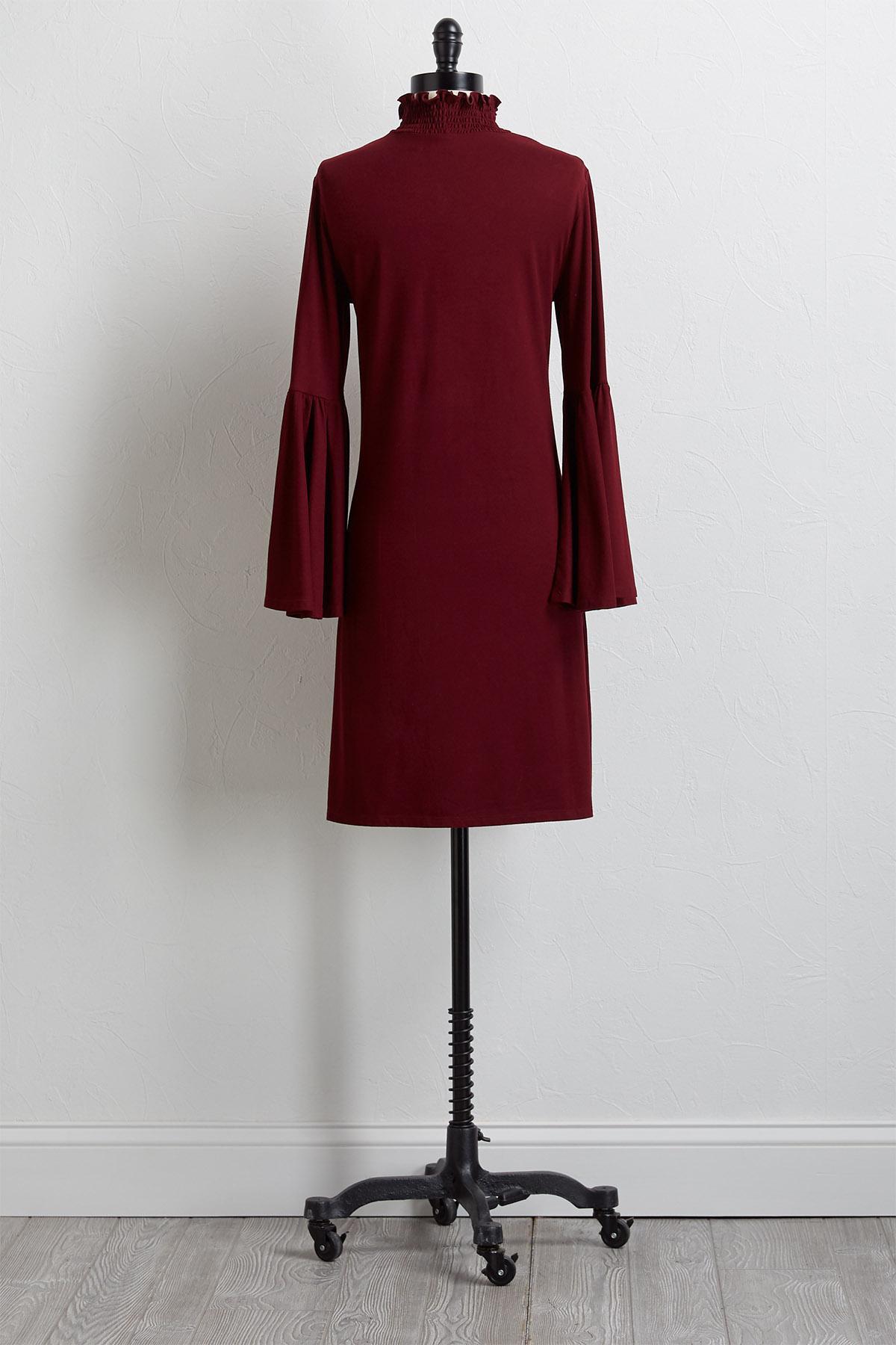 Smocked Mock Neck Shift Dress