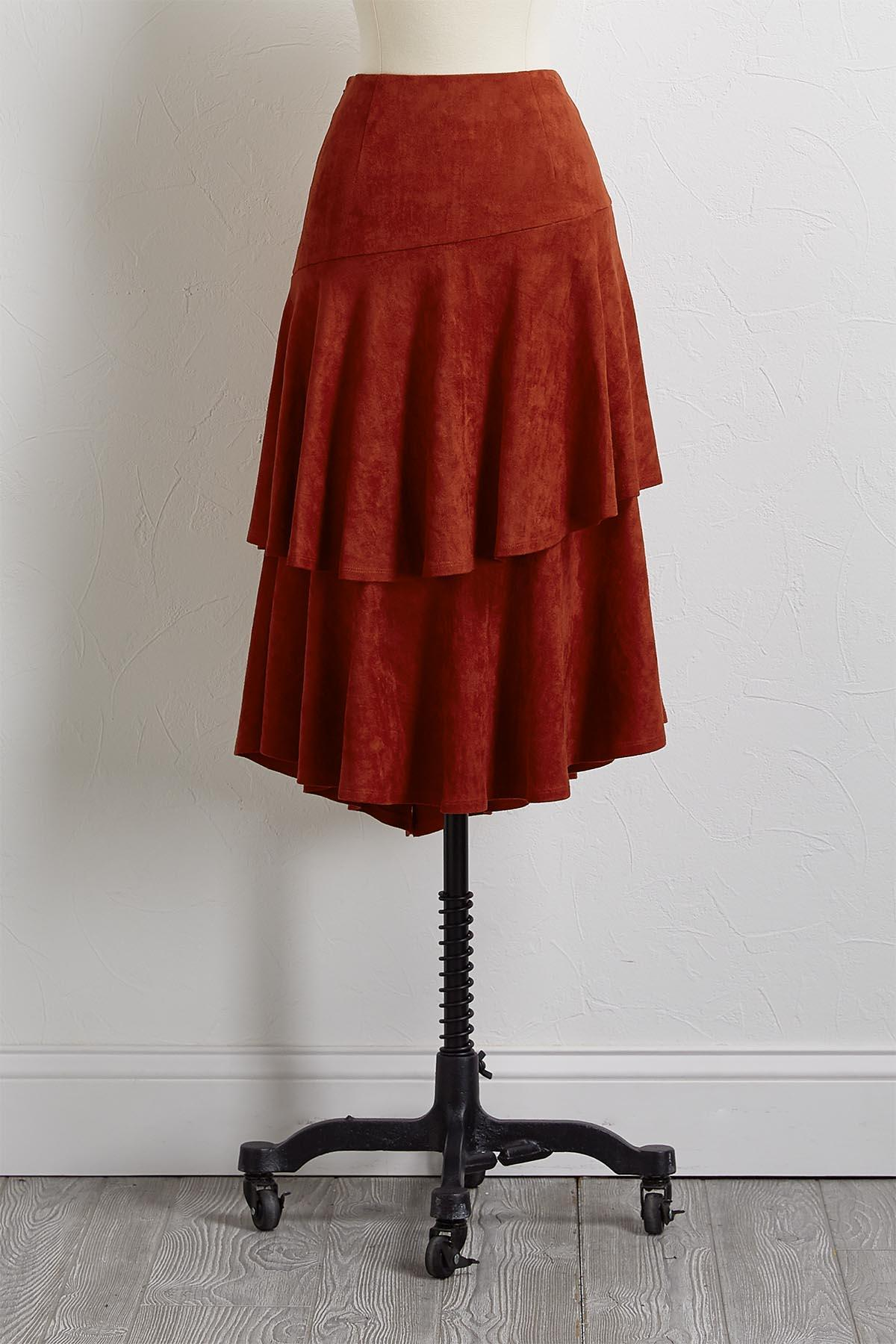 Tiered Faux Suede Skirt
