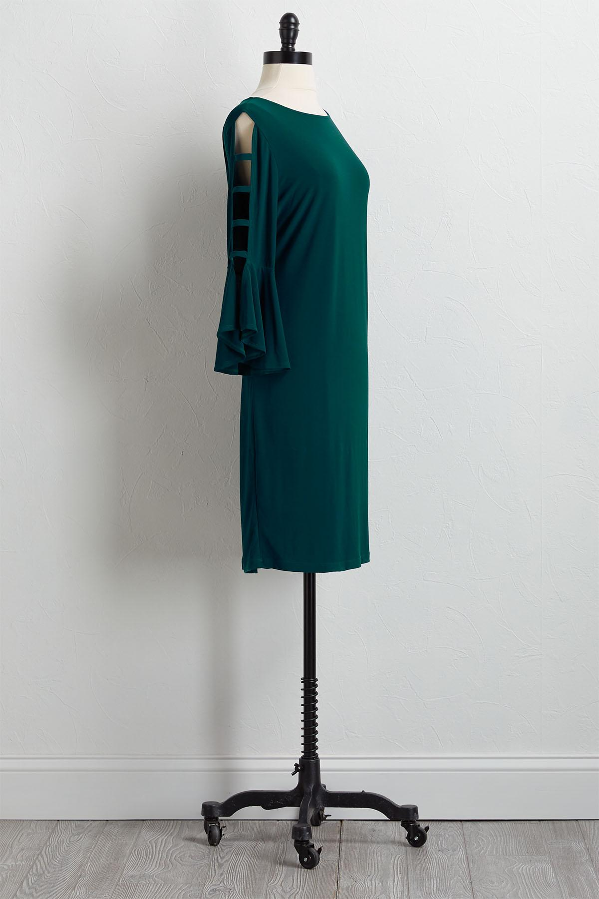 Caged Bell Sleeve Knit Sheath Dress