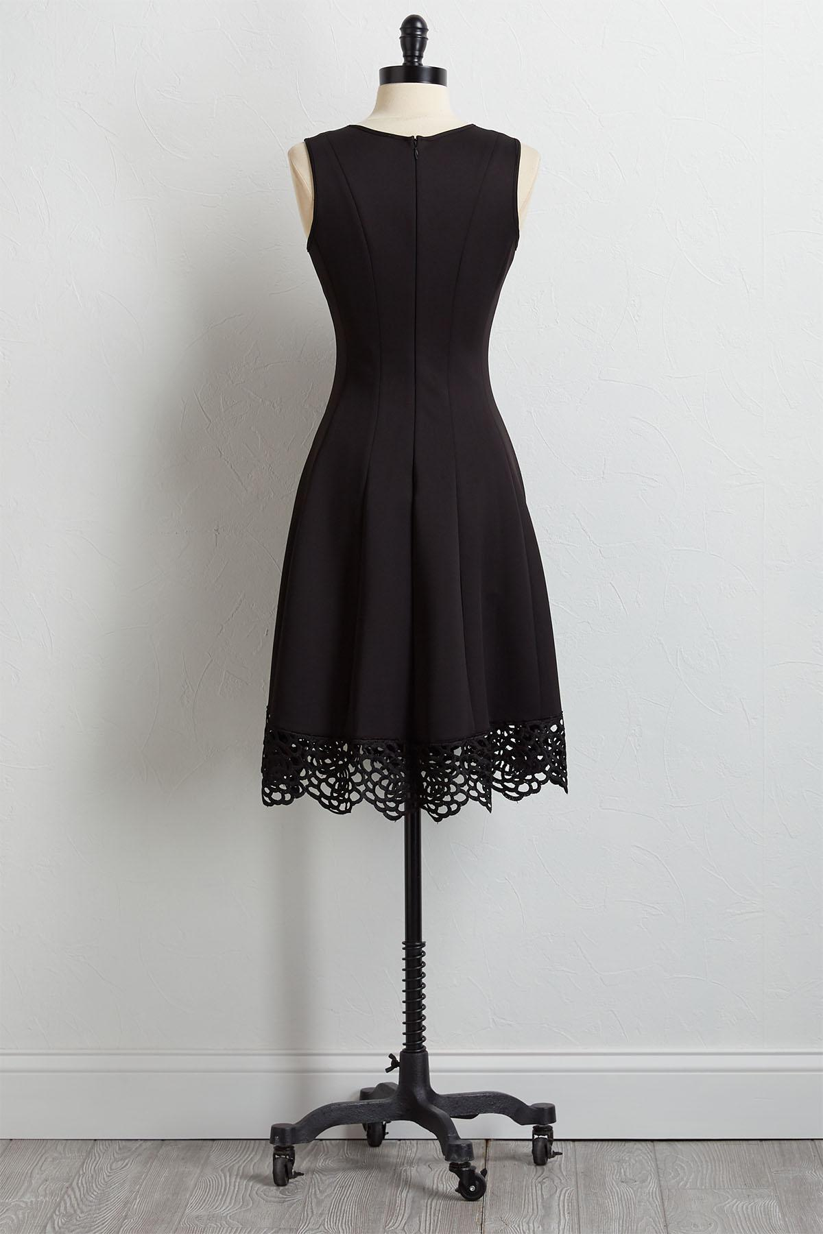 Black Crochet Trim Fit And Flare Dress