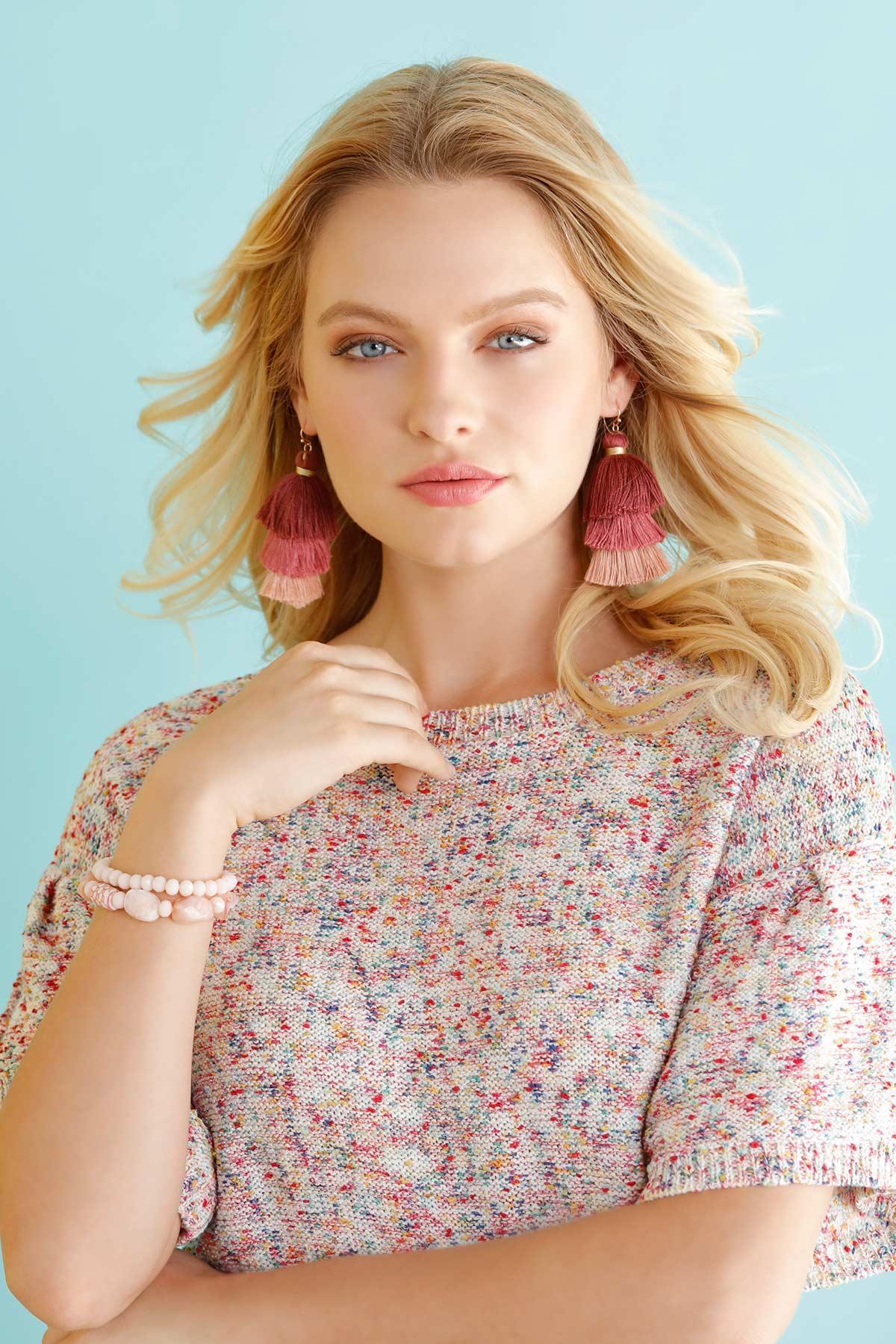 Triple Tiered Tassel Earrings