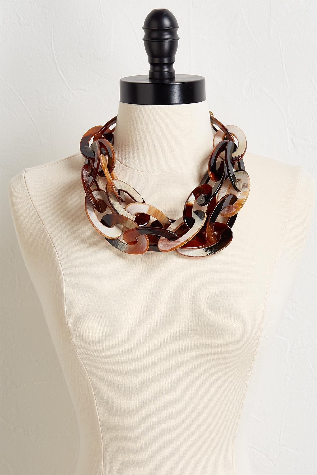 Oval Lucite Linked Necklace