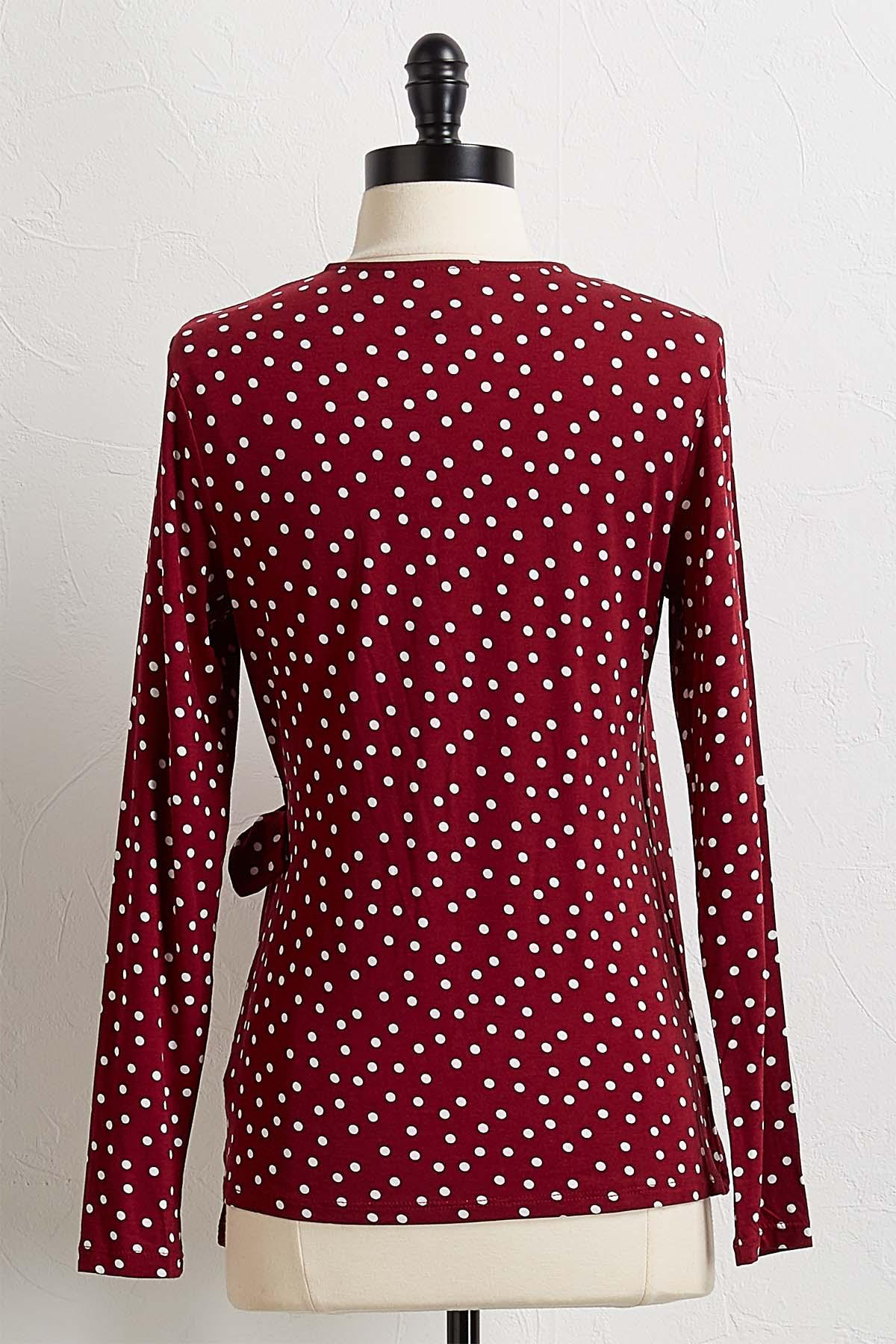 Dotted Faux Wrap Top