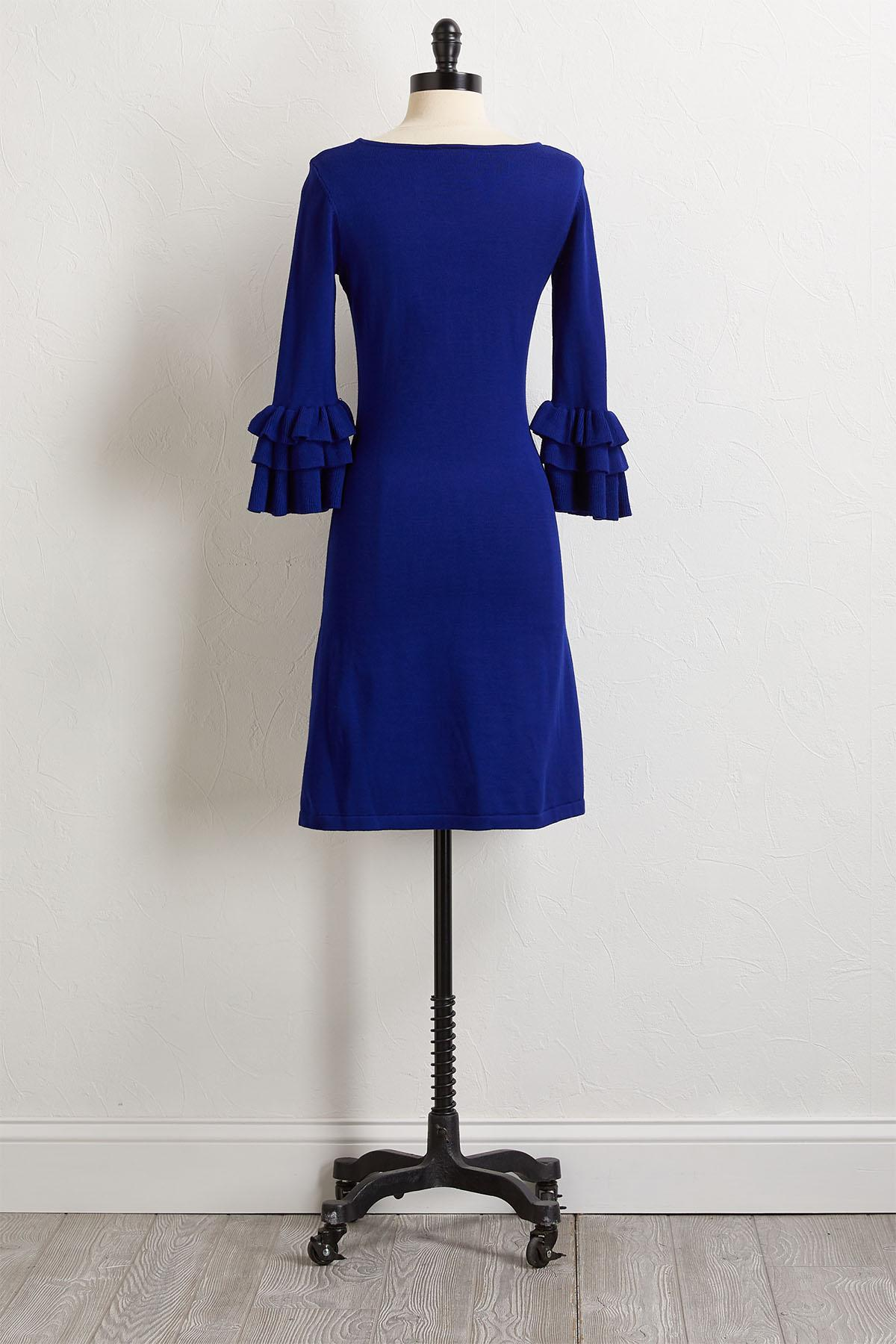 Blue Ruffled Sweater Dress