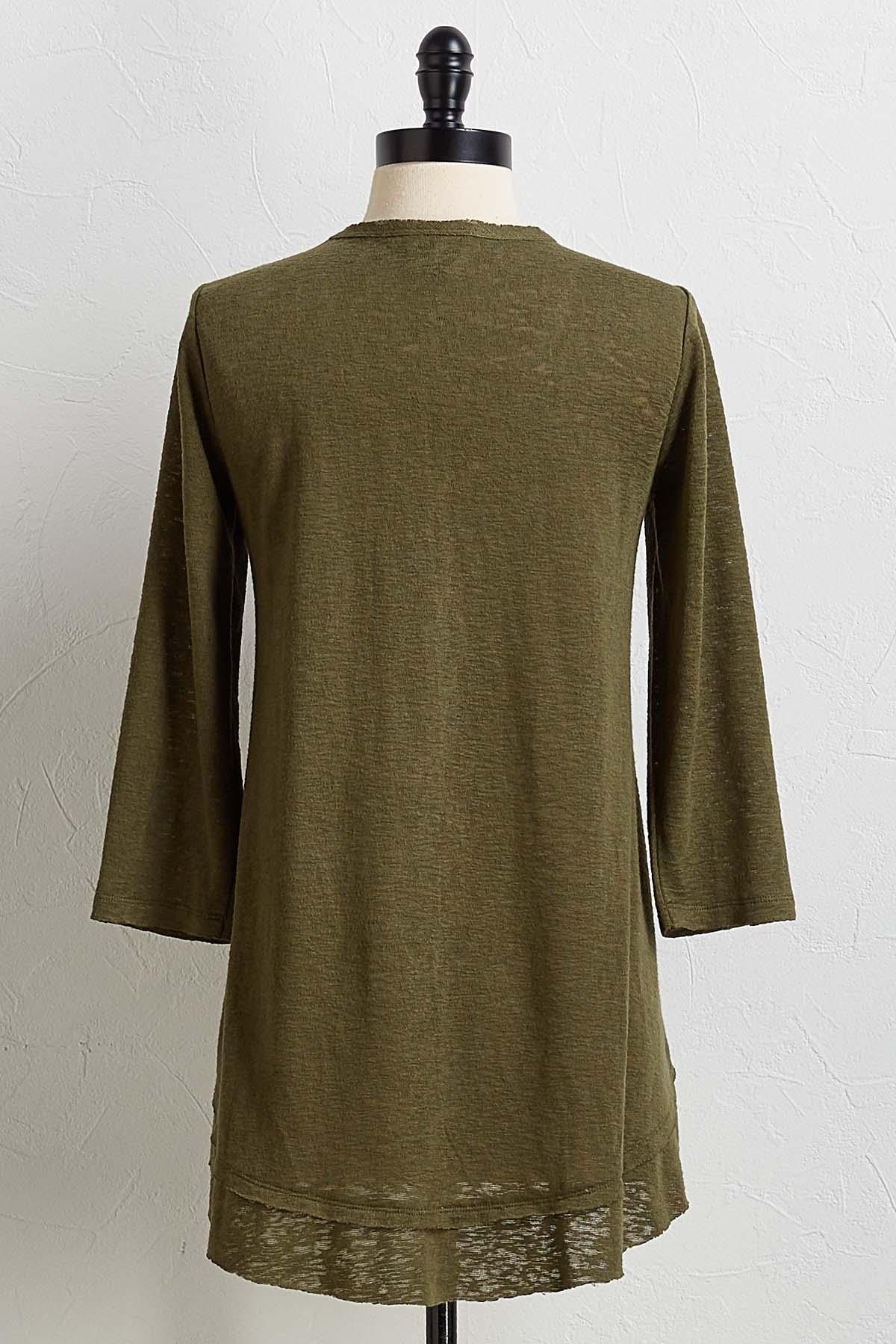 Clover Green V- Neck Top
