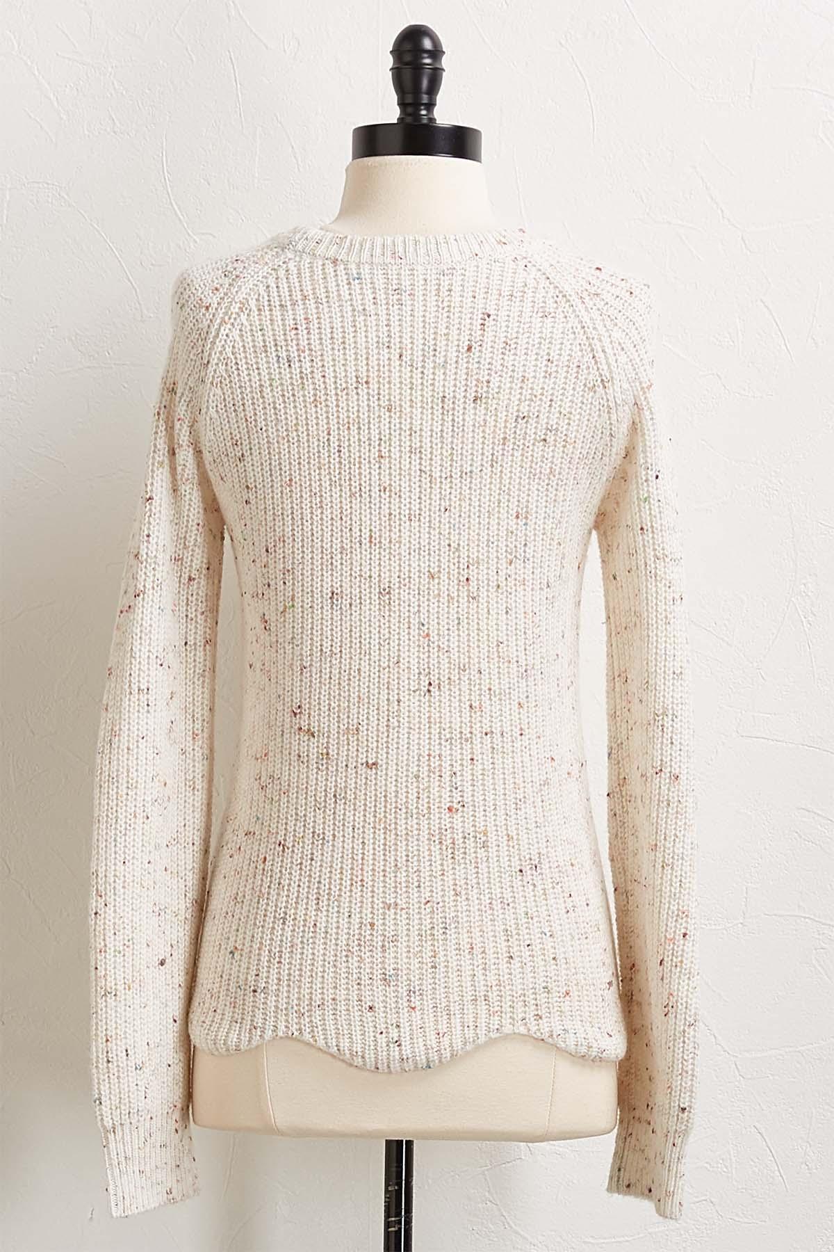 Scallop Hem Confetti Sweater