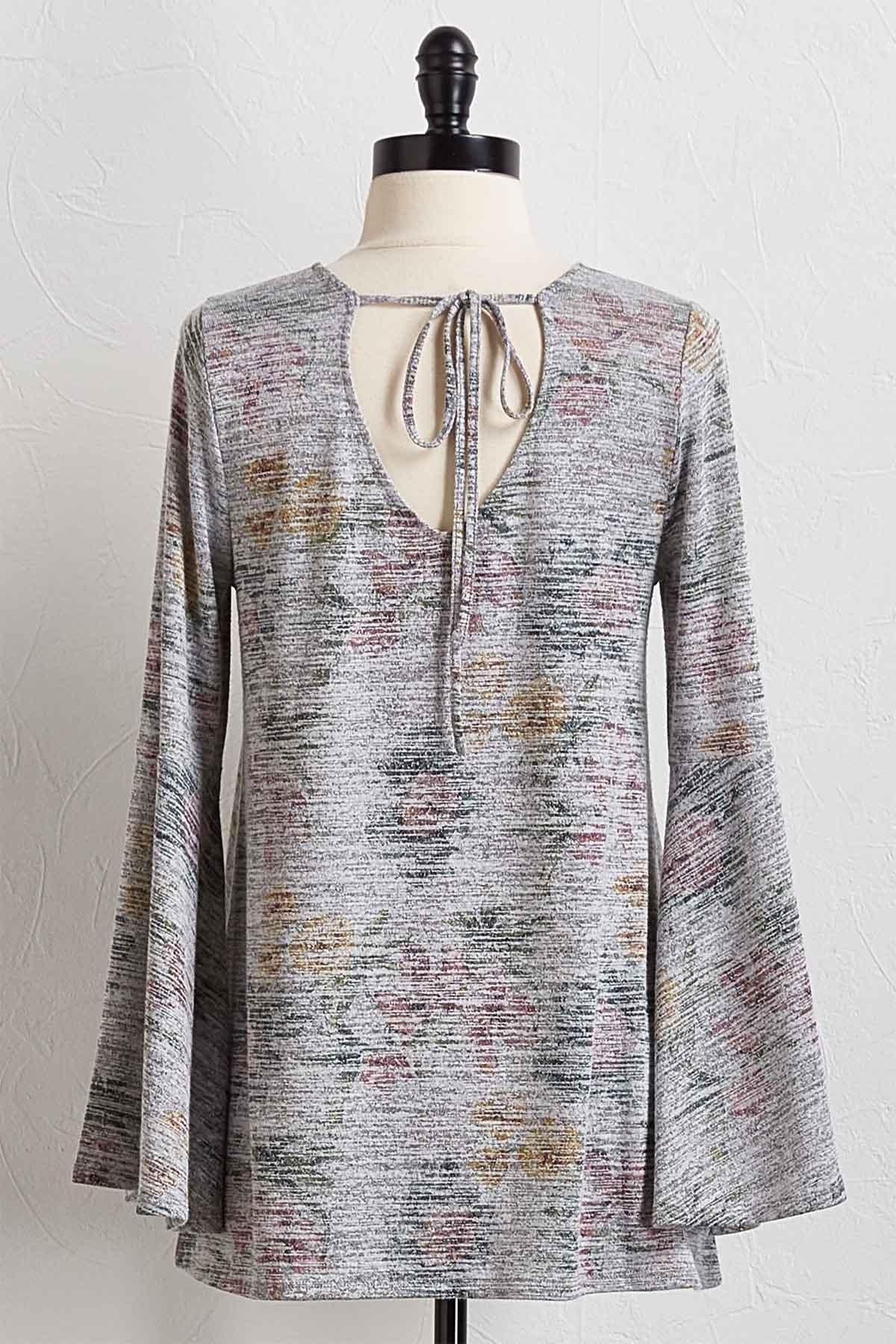 Muted Floral Bell Sleeve Top
