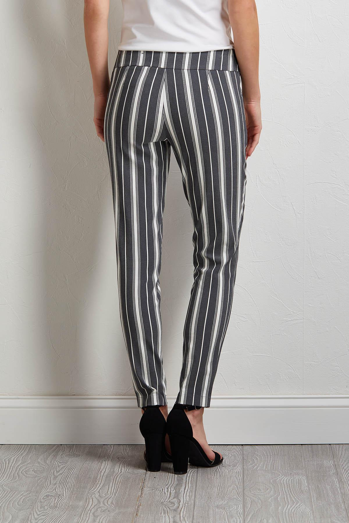 Gray Stripe Pull- On Pants