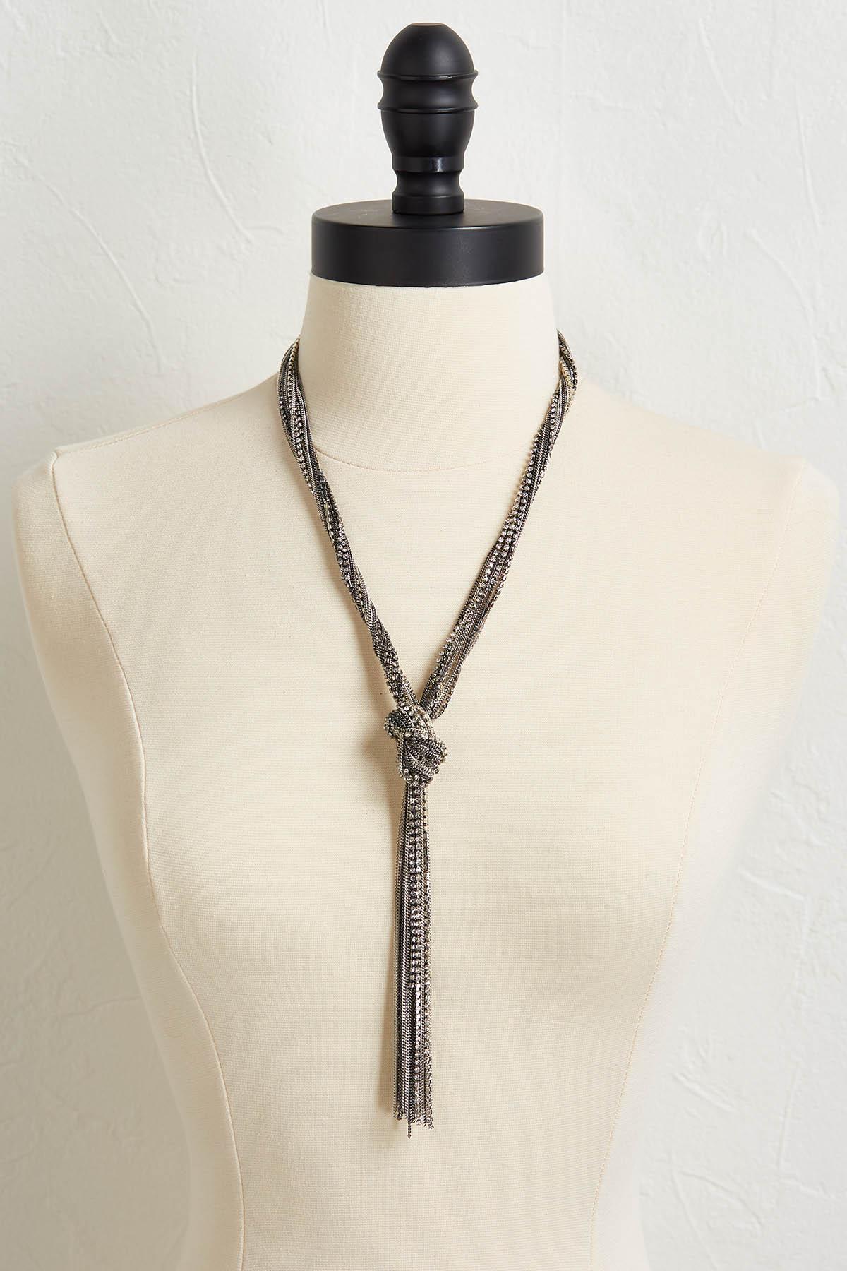 Rhinestone Chain Tassel Y- Necklace