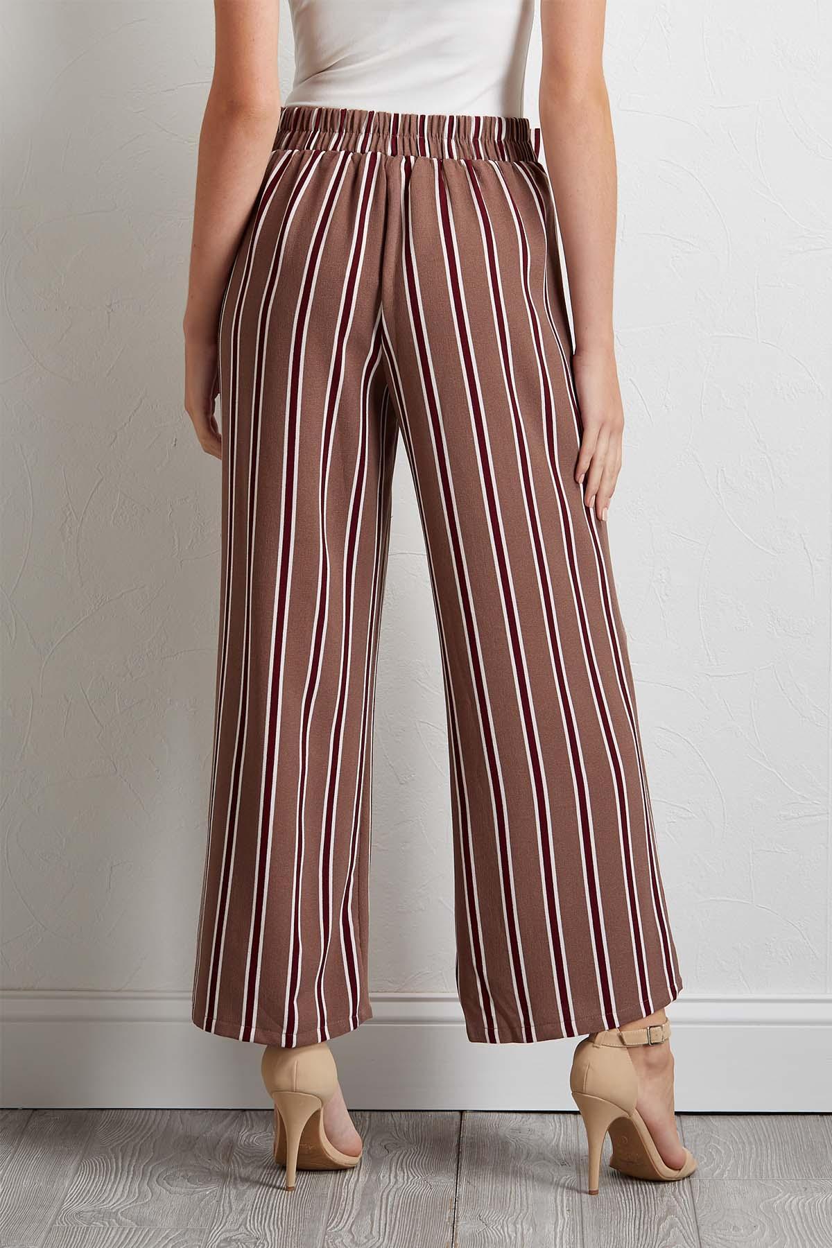 Stripe Tie Front Ankle Pants