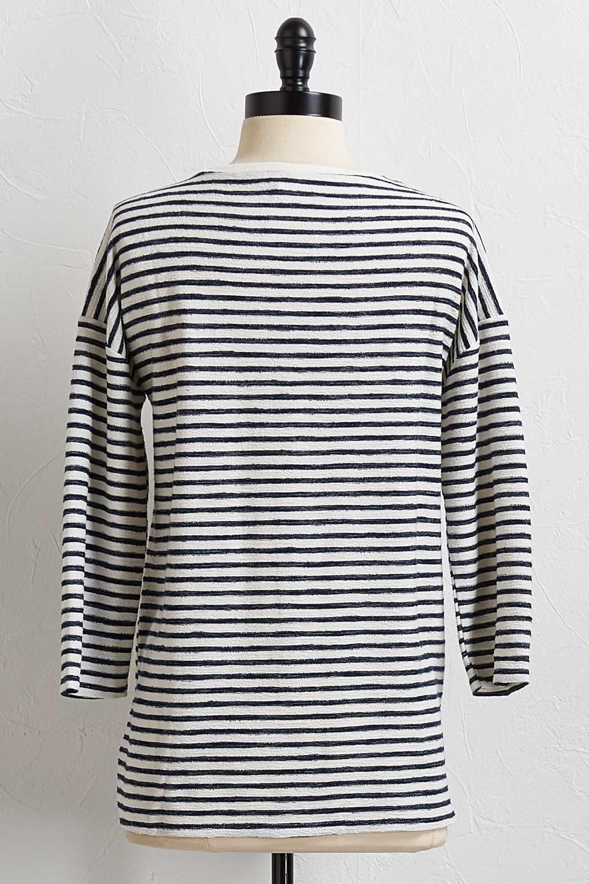 Navy Textured Stripe Top