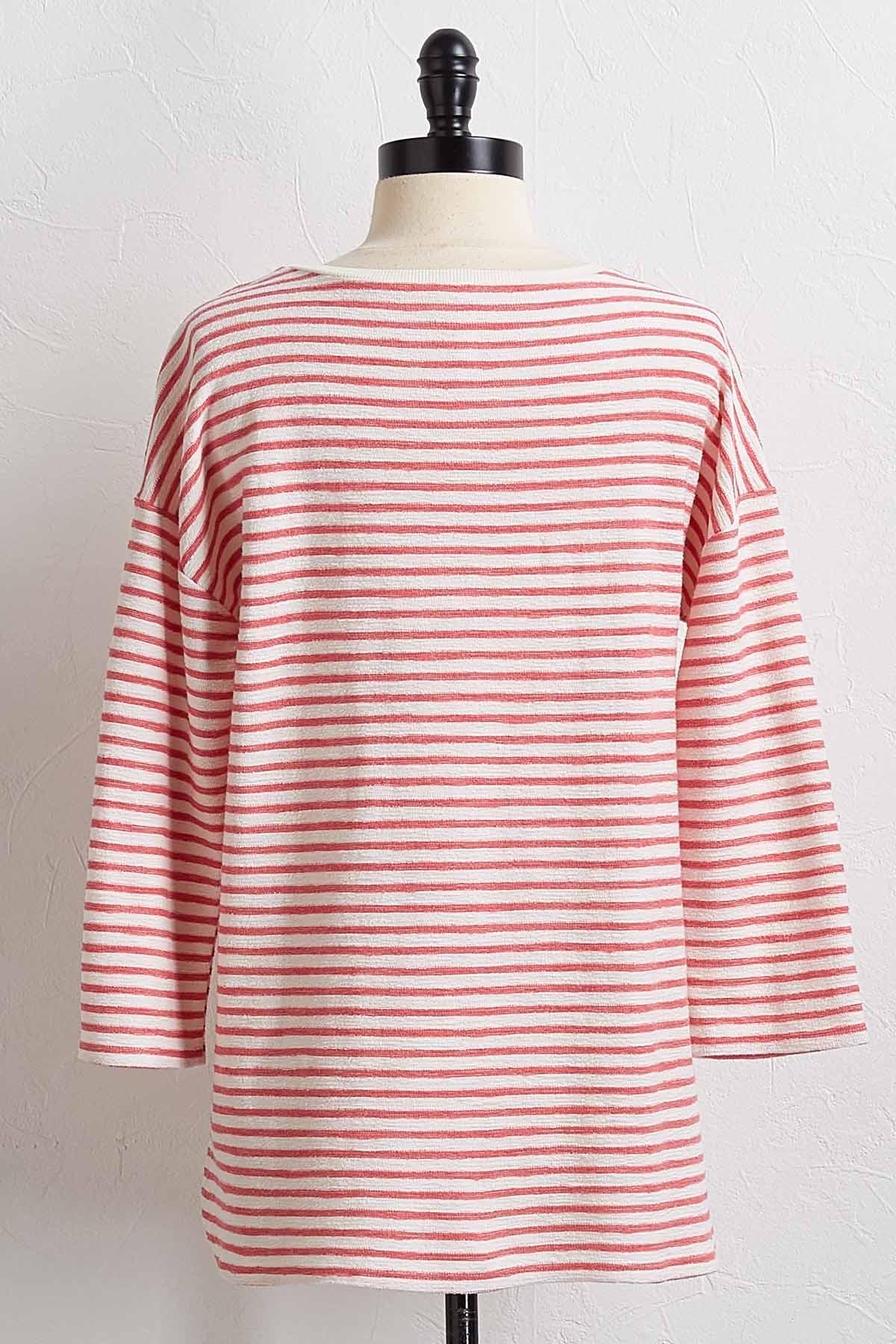 Rose Textured Stripe Top