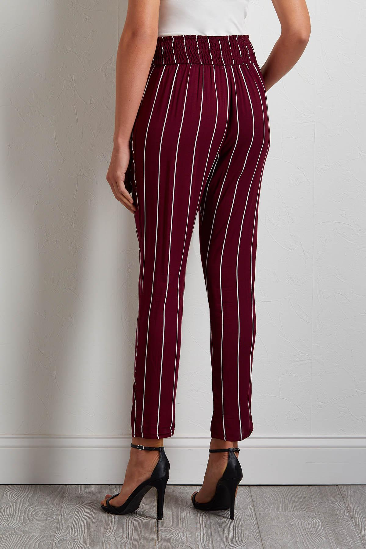 Striped Tie- Front Pants