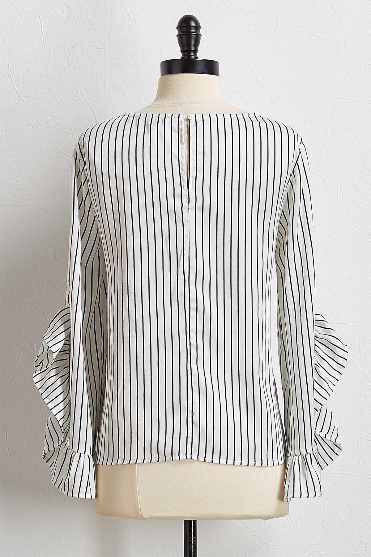 Stripe Ruffled Sleeve Top