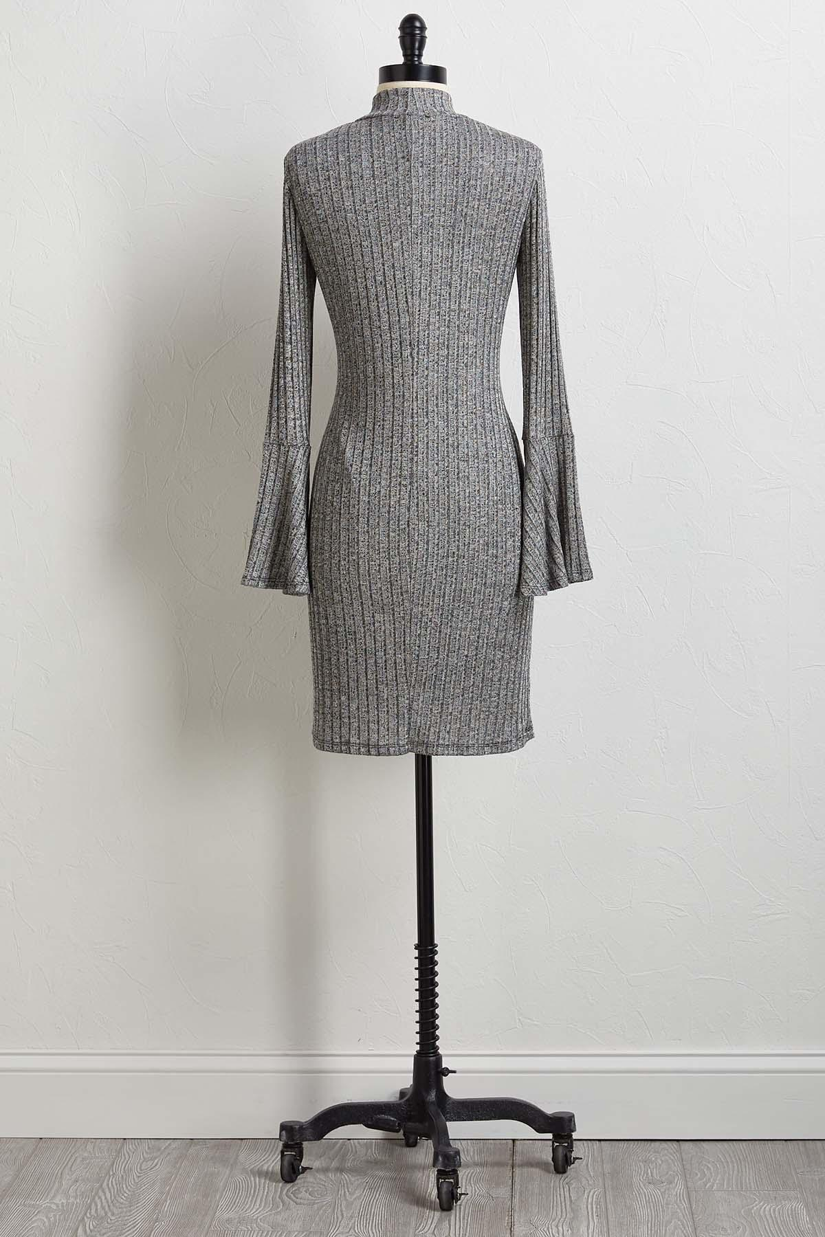 Marled Mock Neck Shift Dress