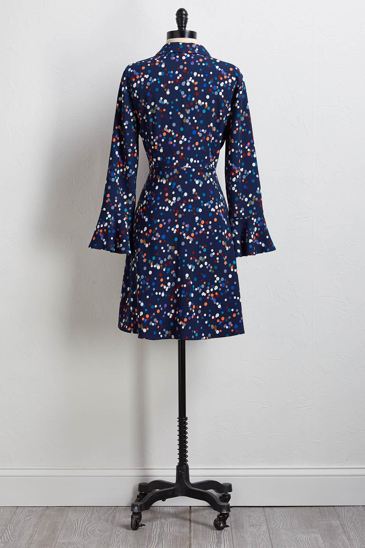 Dotted Knot Front Shirt Dress