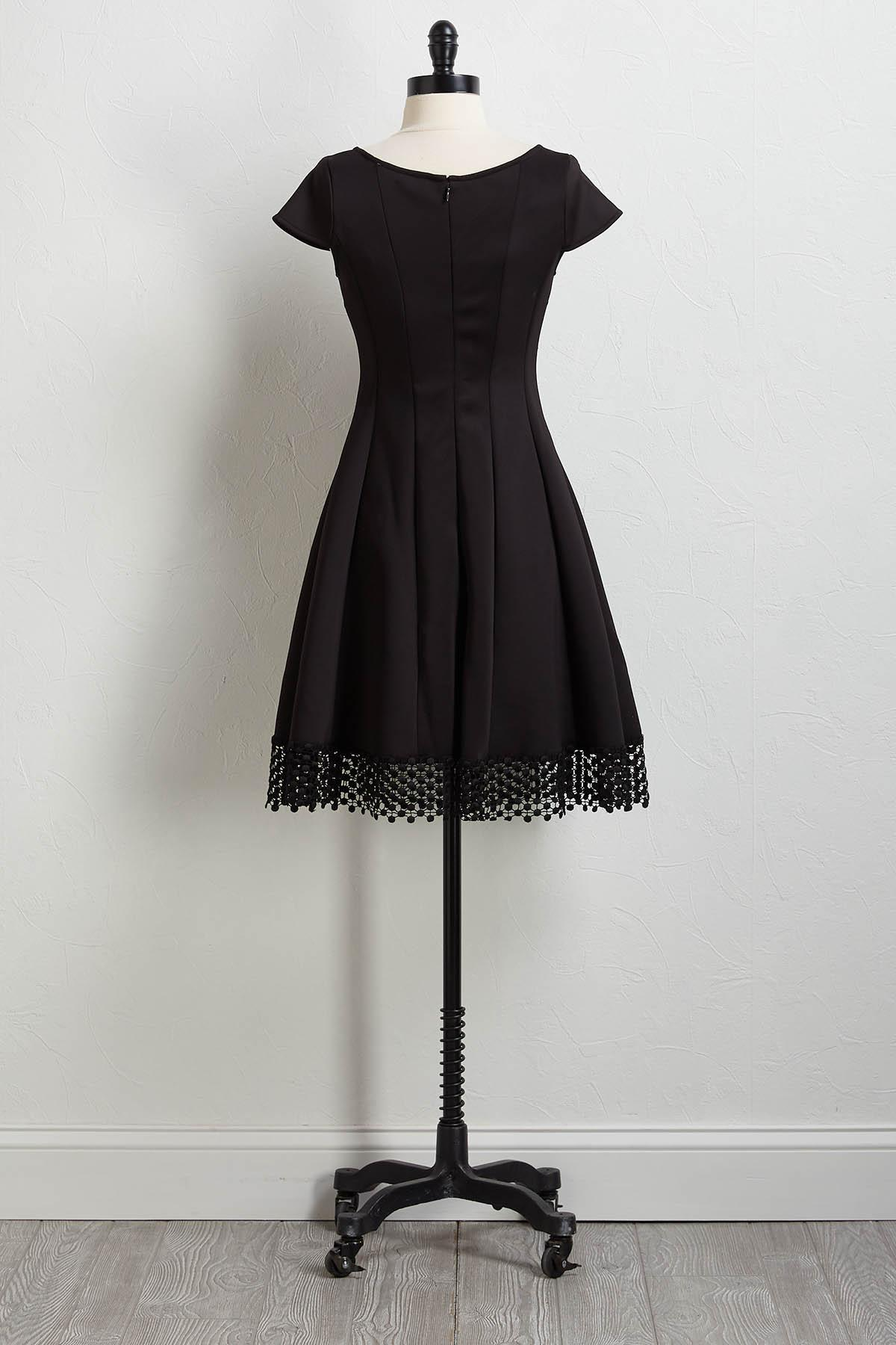 Crochet Trim Fit And Flare Dress