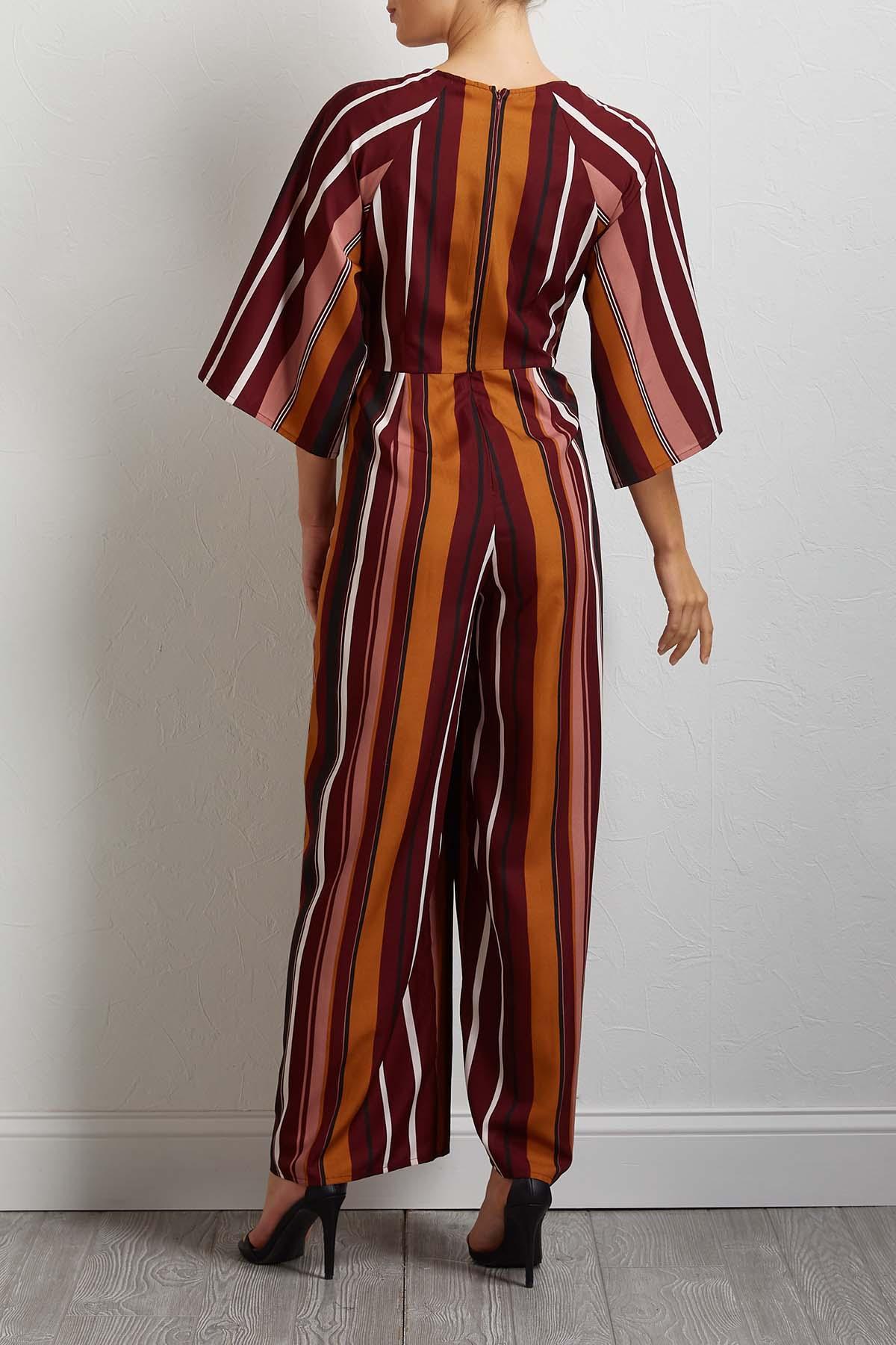 Stripe Tie Front Jumpsuit