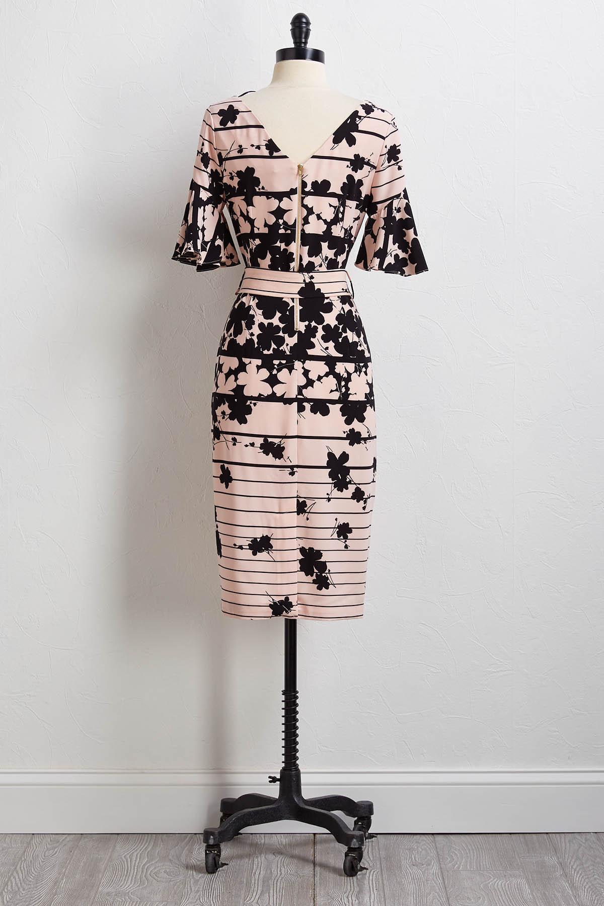 Belted Floral Stripe Dress