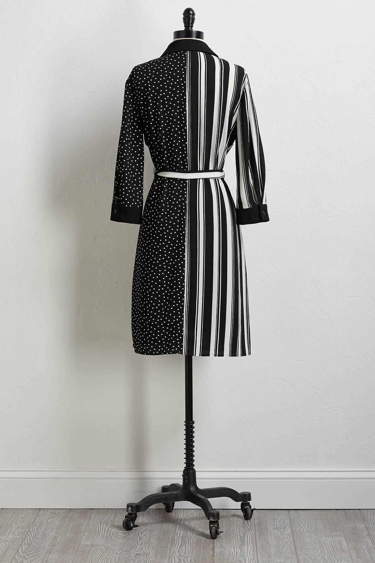 Stripe And Solid Shift Dress