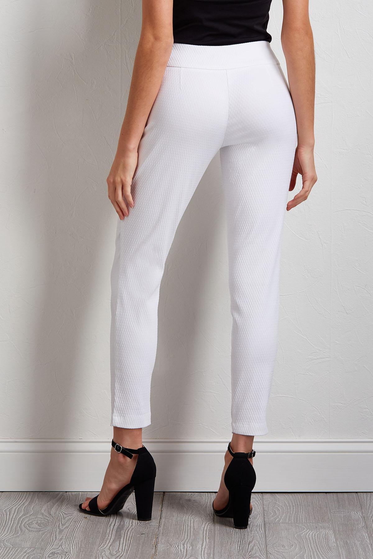 Diamond Jacquard Slim Leg Ankle Pants